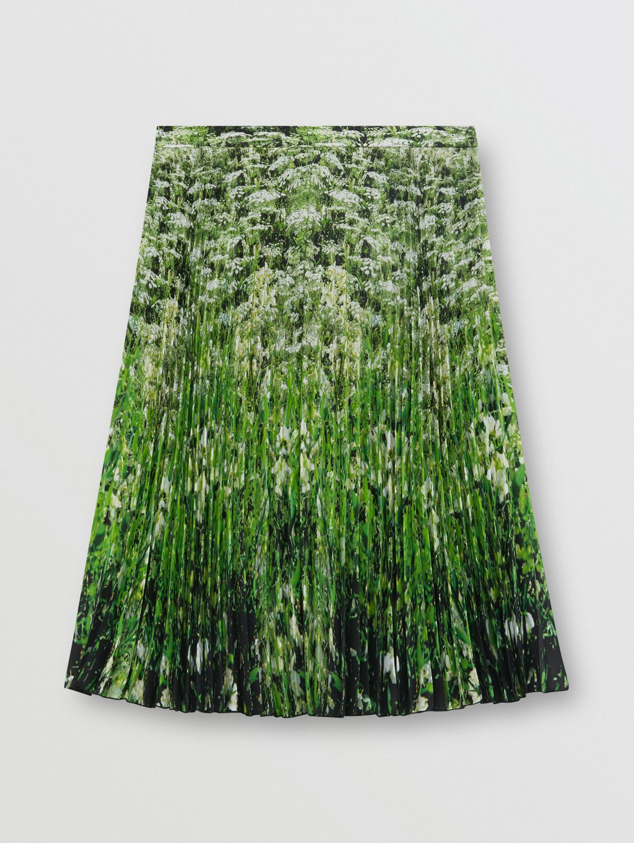 Meadow Print Crepe De Chine Pleated Skirt in White