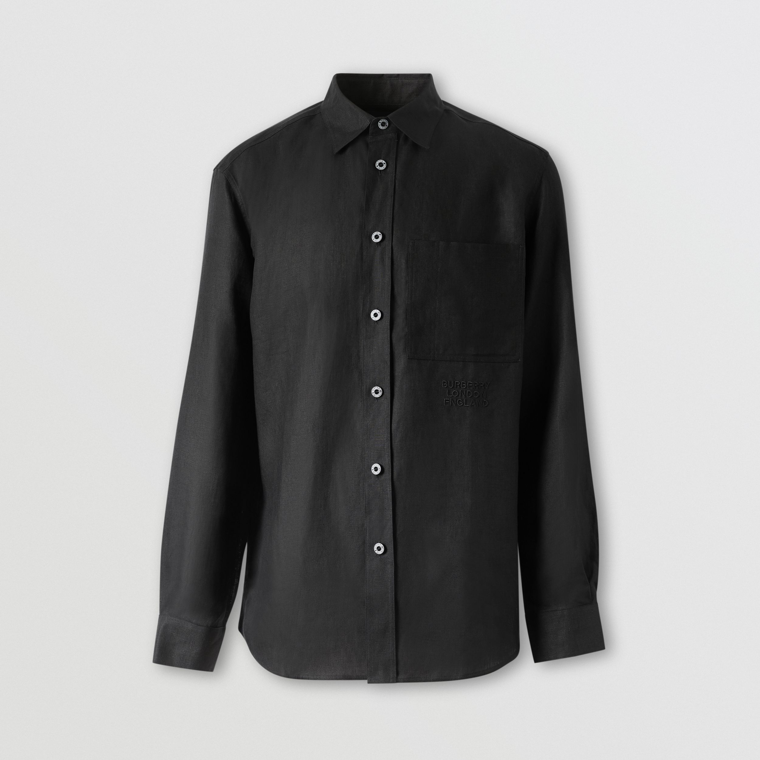 Embroidered Logo Linen Shirt in Black - Men | Burberry Hong Kong S.A.R. - 4