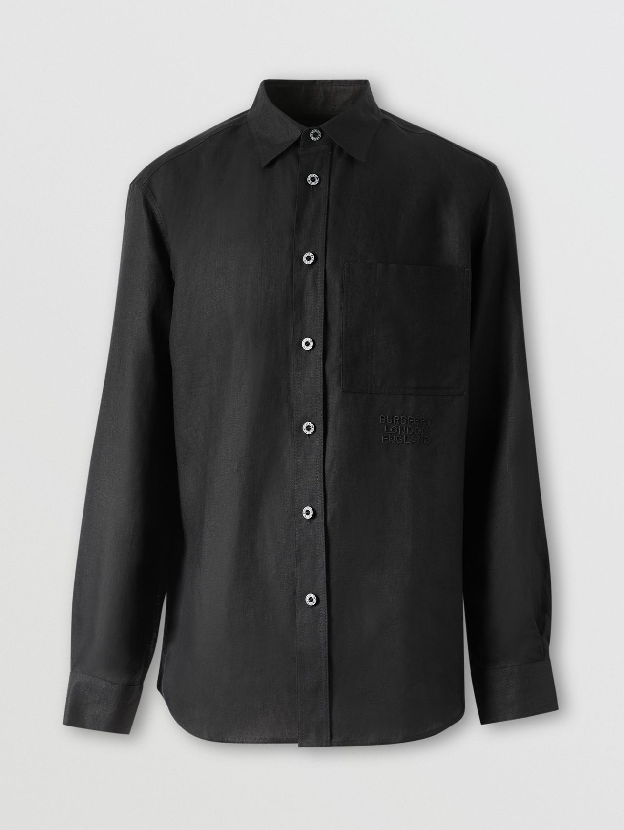 Embroidered Logo Linen Shirt in Black
