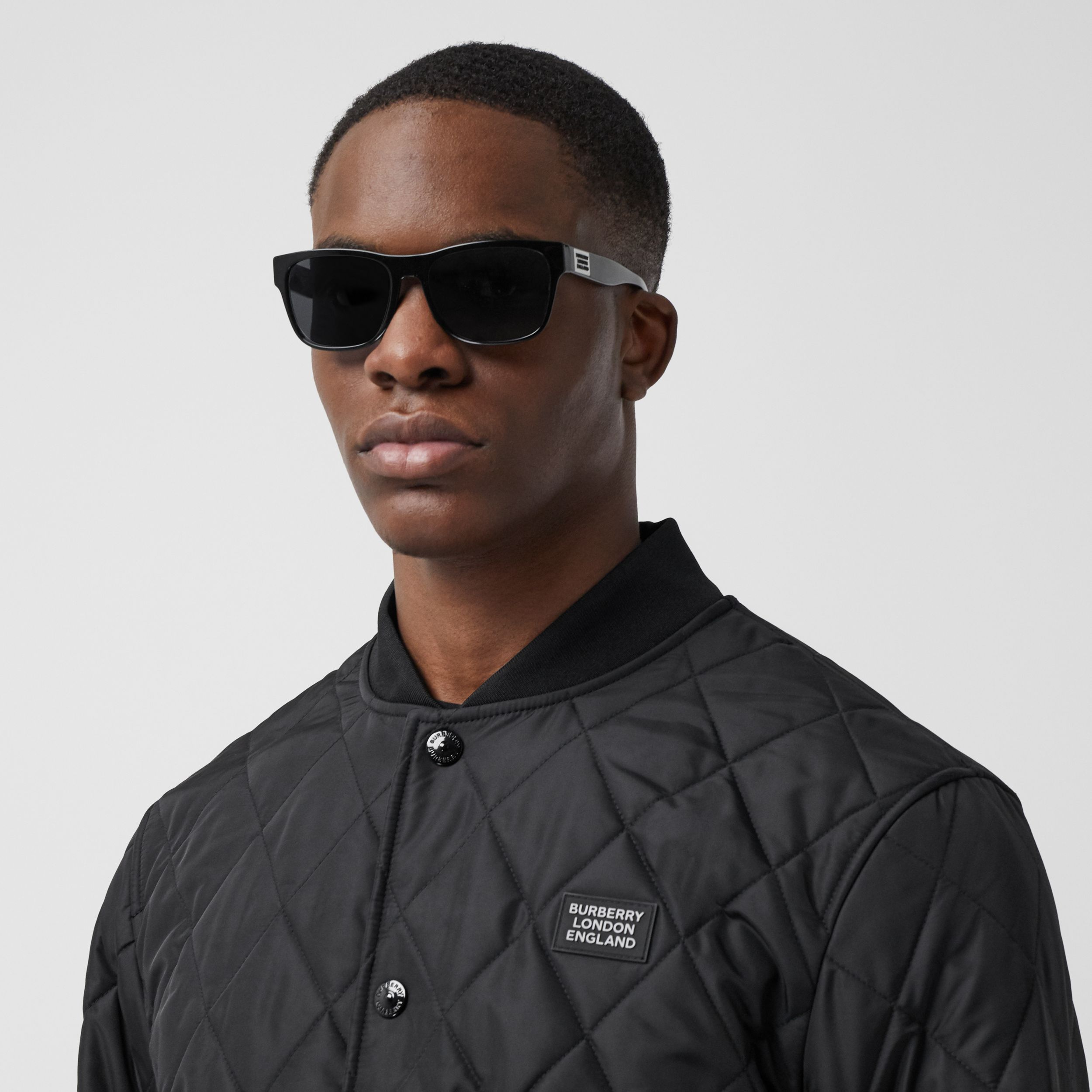 Logo Appliqué Diamond Quilted Nylon Canvas Jacket in Black - Men | Burberry Australia - 2
