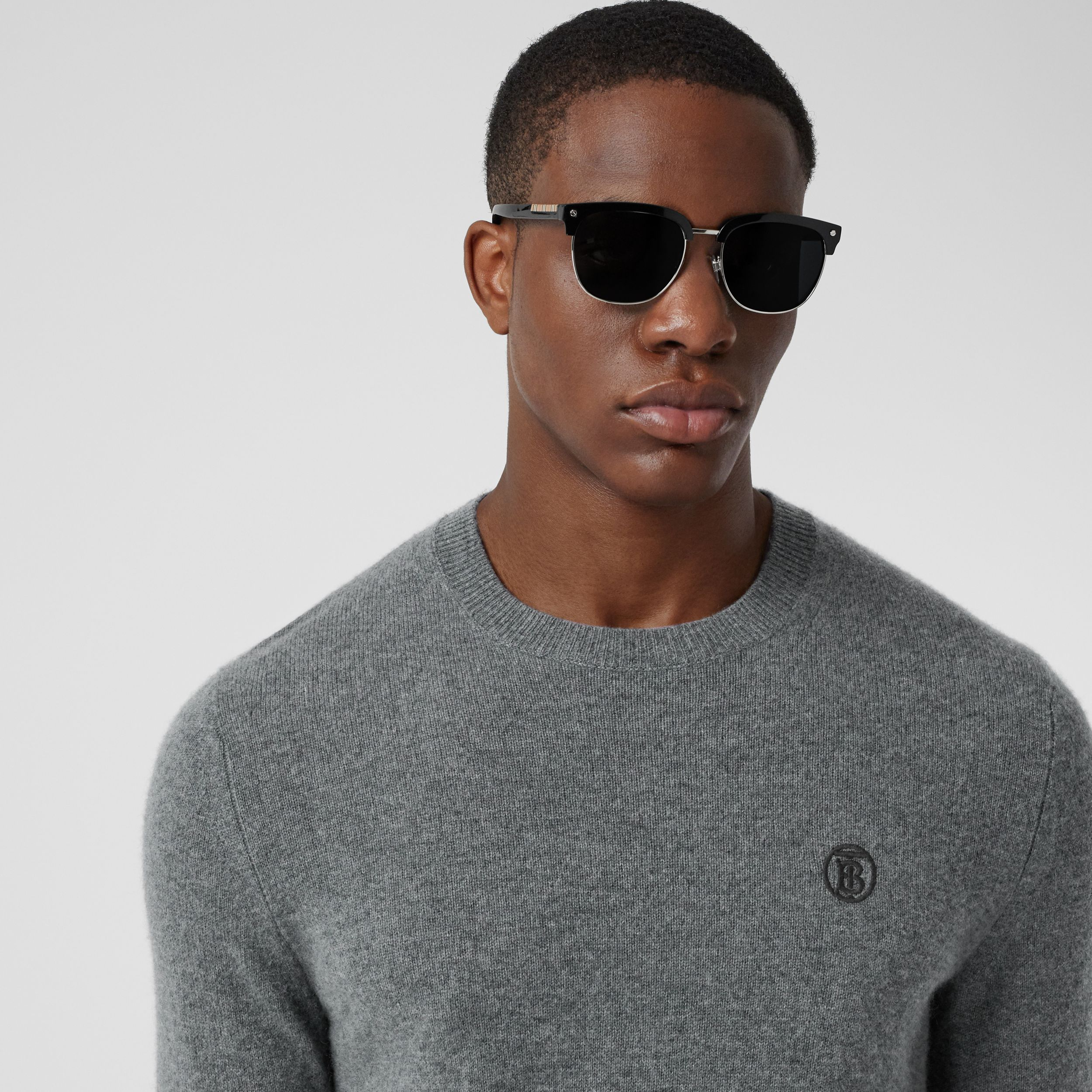 Monogram Motif Cashmere Sweater in Mid Grey Melange - Men | Burberry - 2