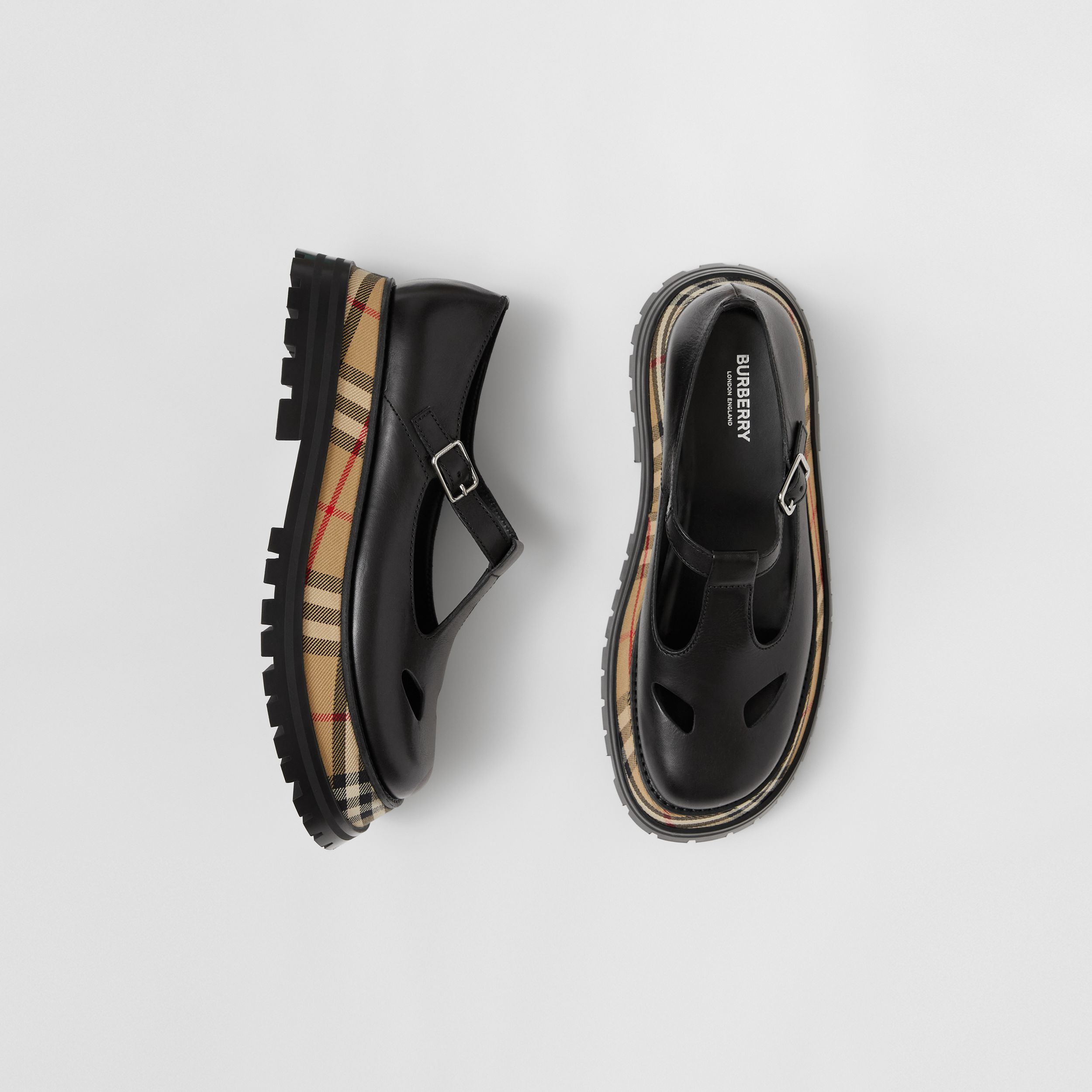 Vintage Check Detail Leather T-bar Shoes in Black - Women | Burberry - 1