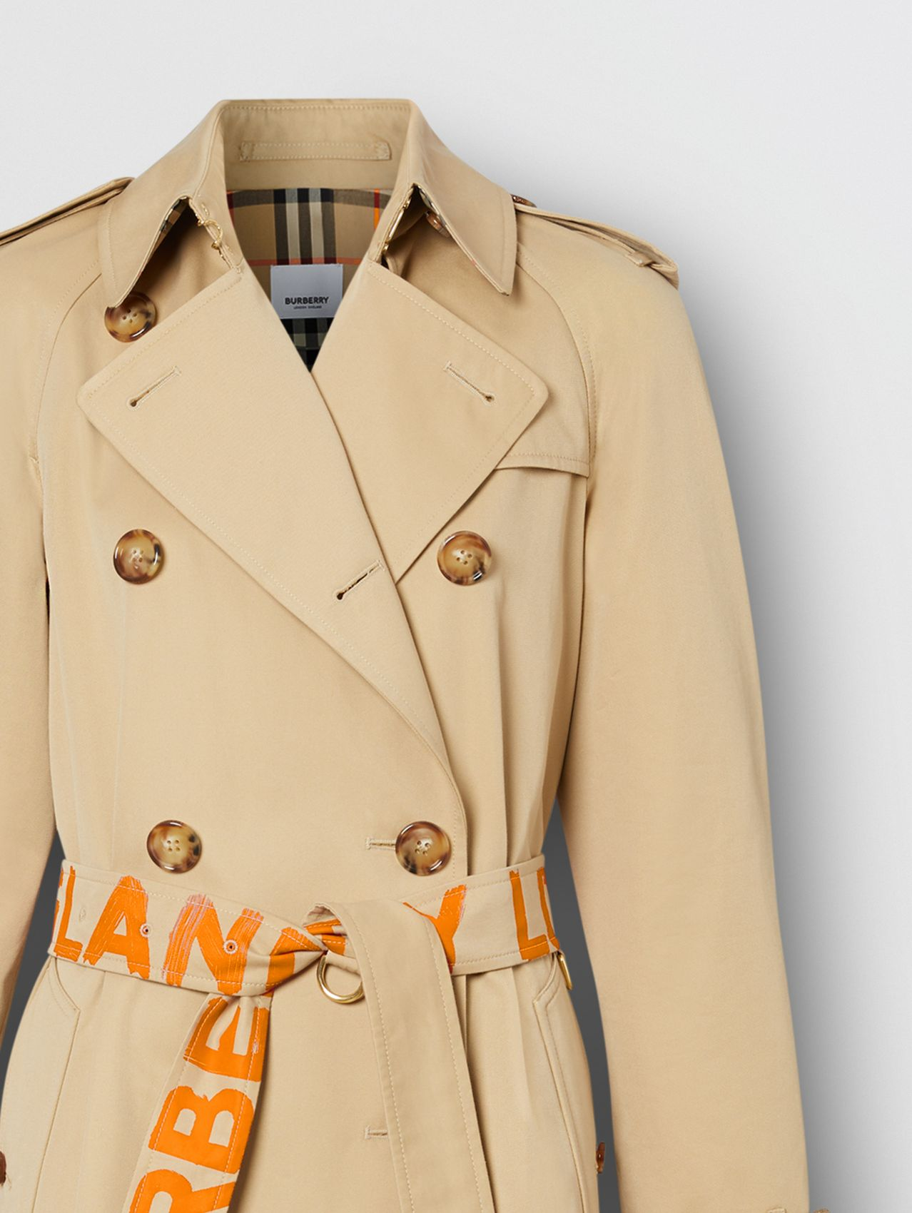 Logo Print Cotton Gabardine Trench Coat in Bright Orange