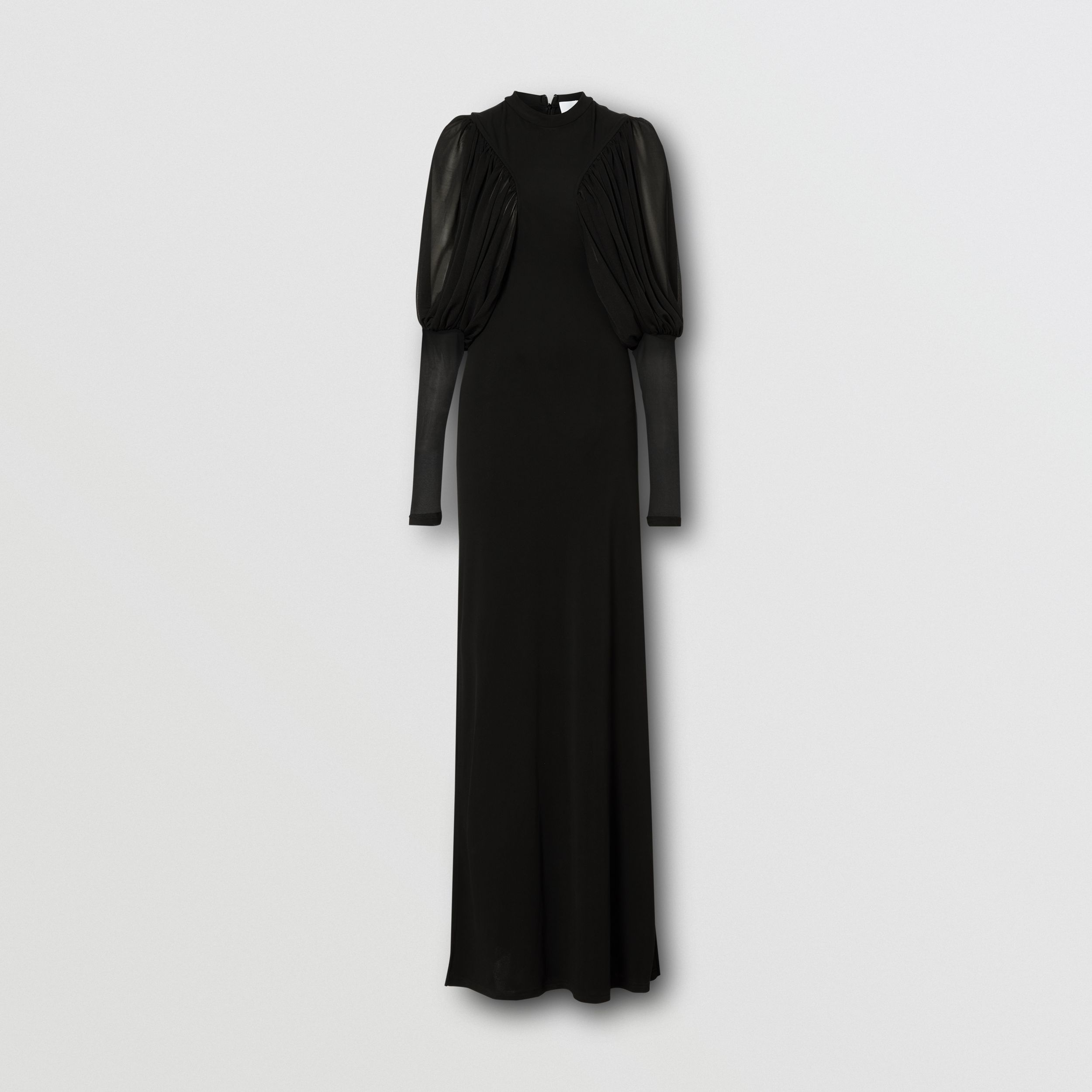 Puff-sleeve Jersey Gown in Black - Women | Burberry - 4