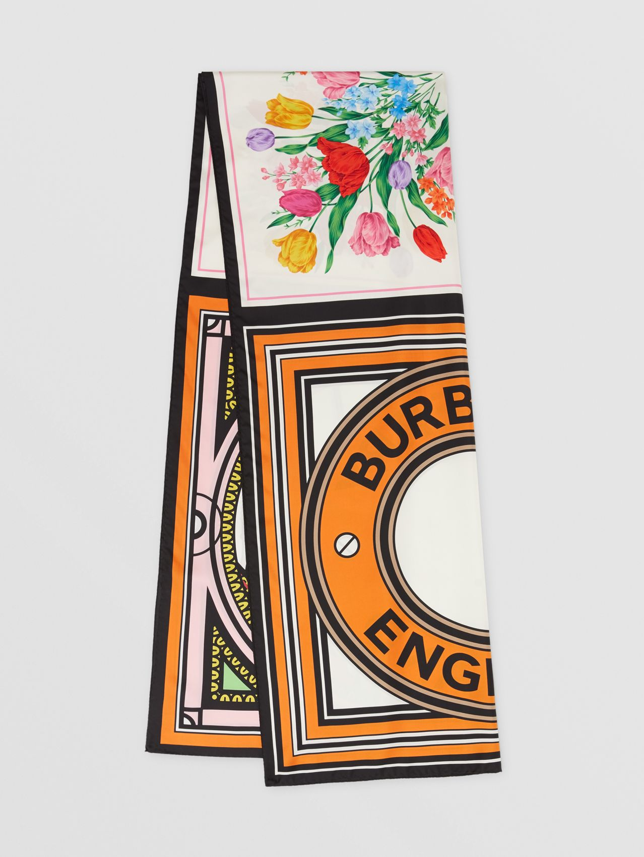 Montage Print Silk Scarf in Bright Orange