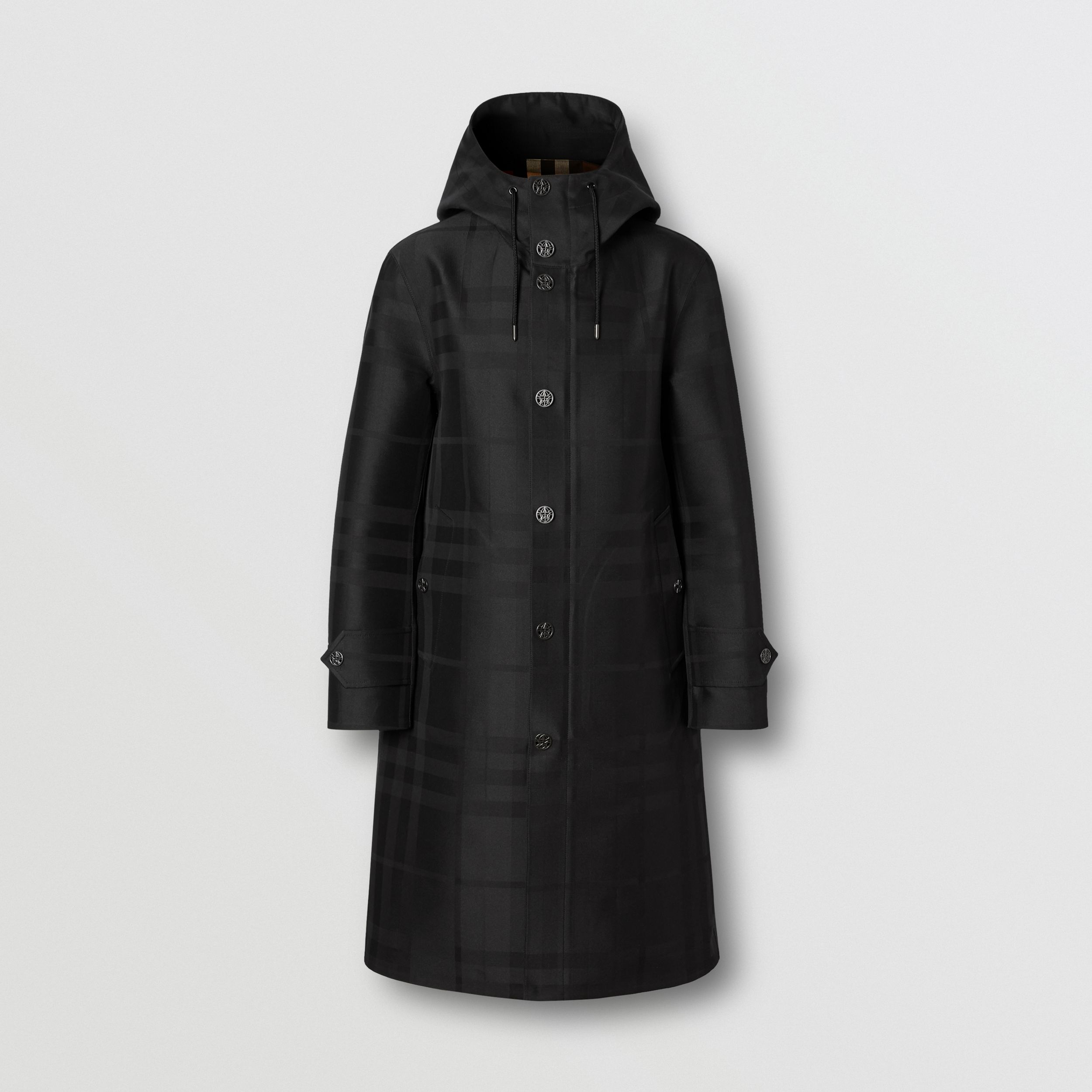 Globe Graphic Detail Check Technical Cotton Coat in Black - Men | Burberry - 4