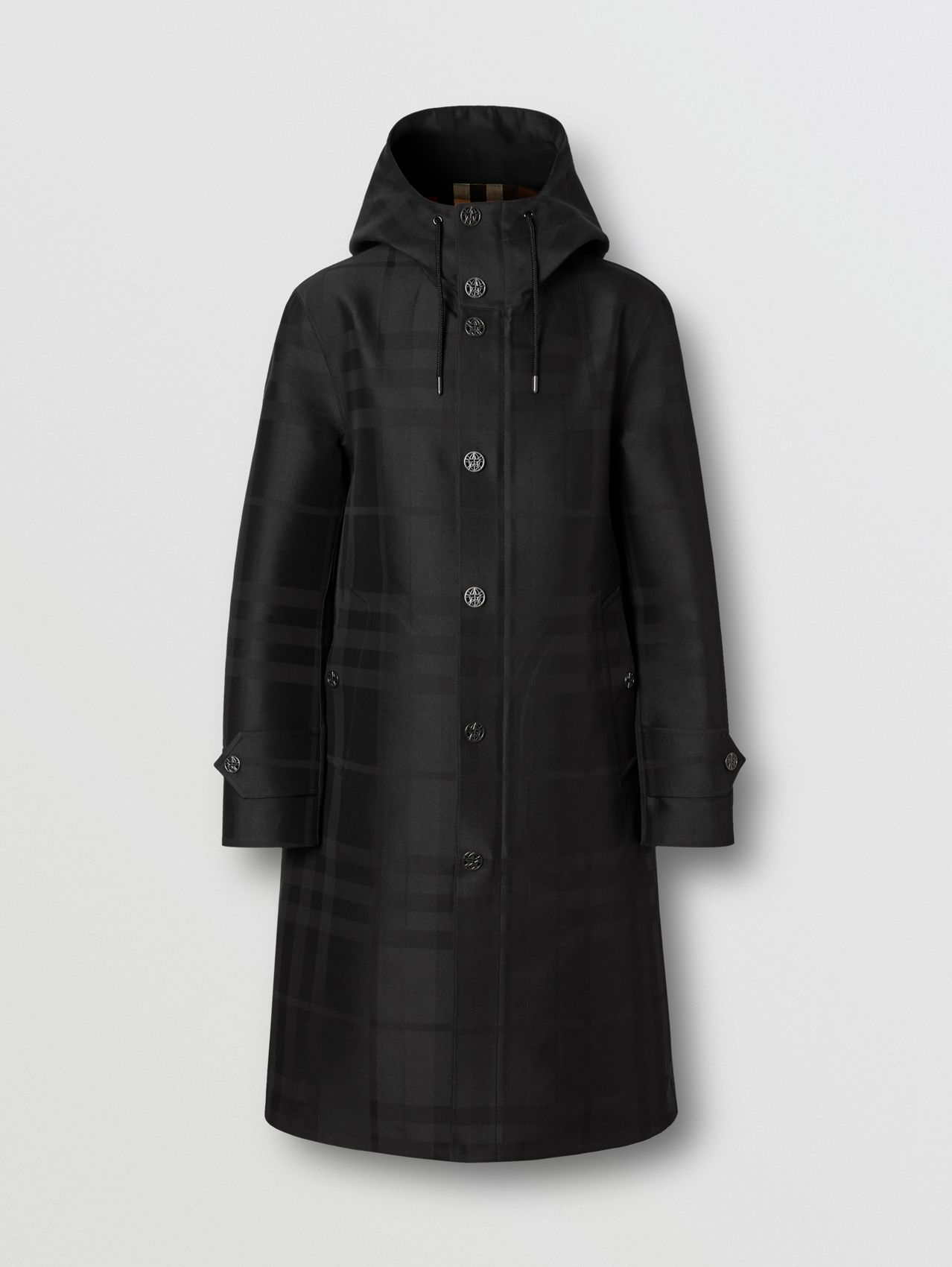 Globe Graphic Detail Check Technical Cotton Coat in Black