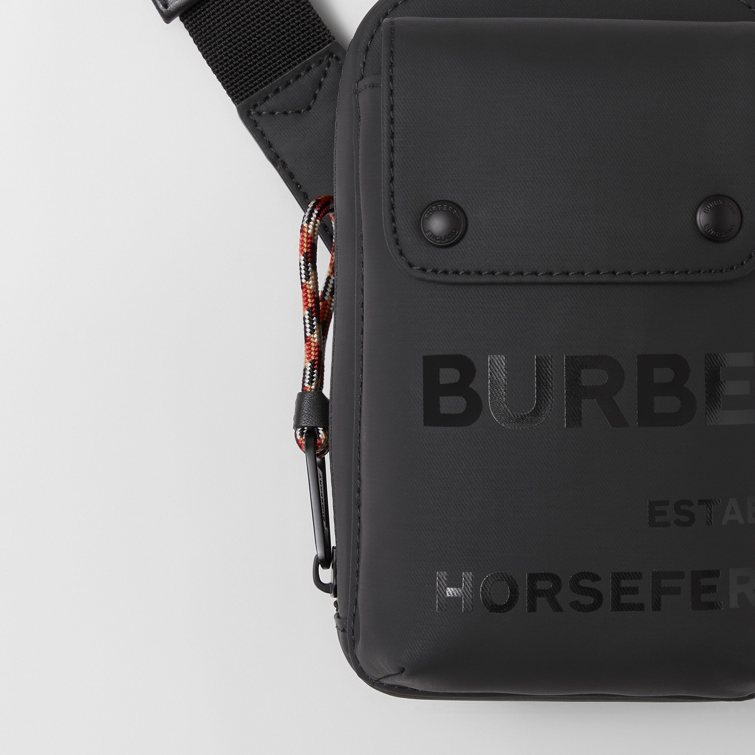Horseferry Print Coated Canvas Crossbody Pouch in Black - Men | Burberry - 2