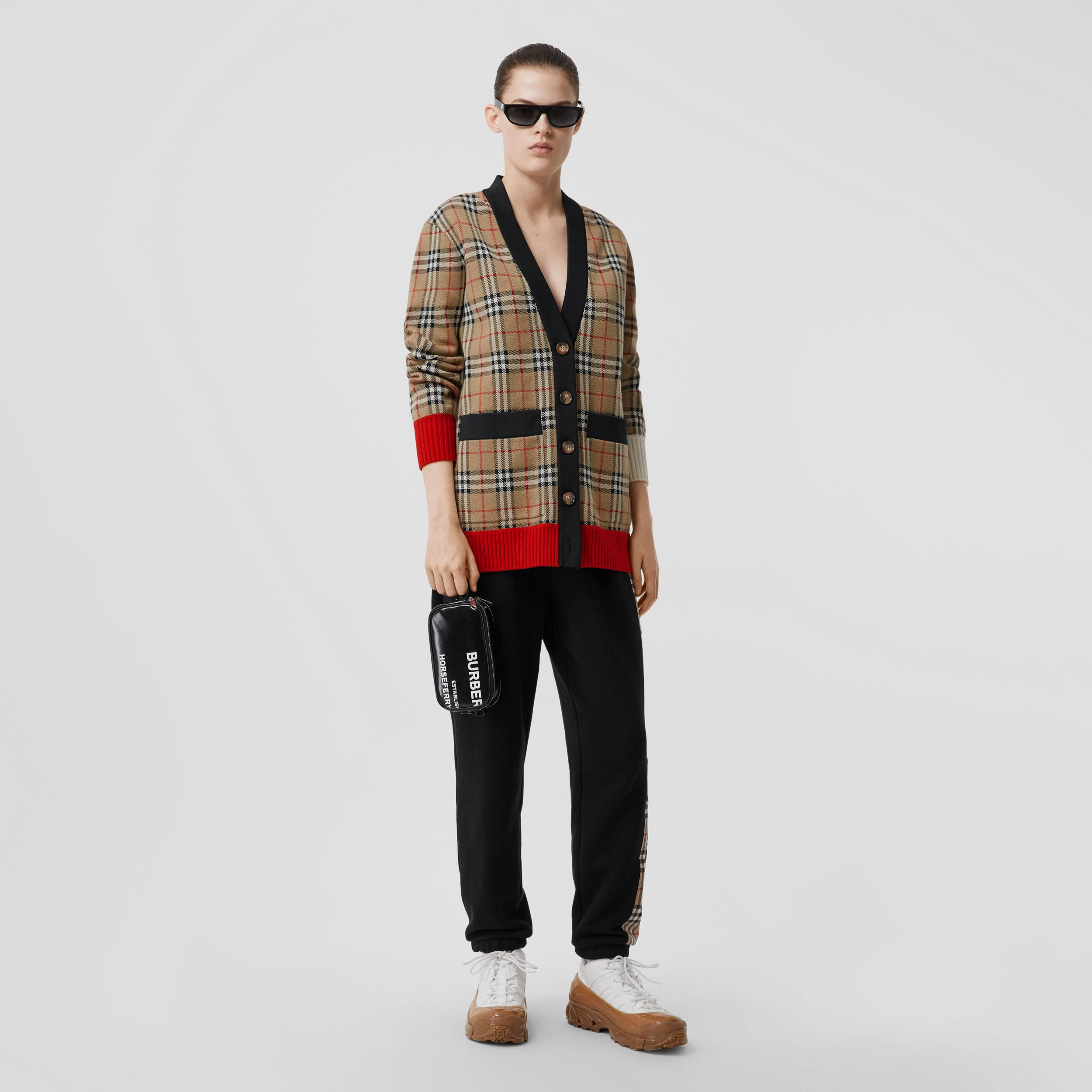 Vintage Check Merino Wool Blend Jacquard Cardigan in Archive Beige - Women | Burberry - 1