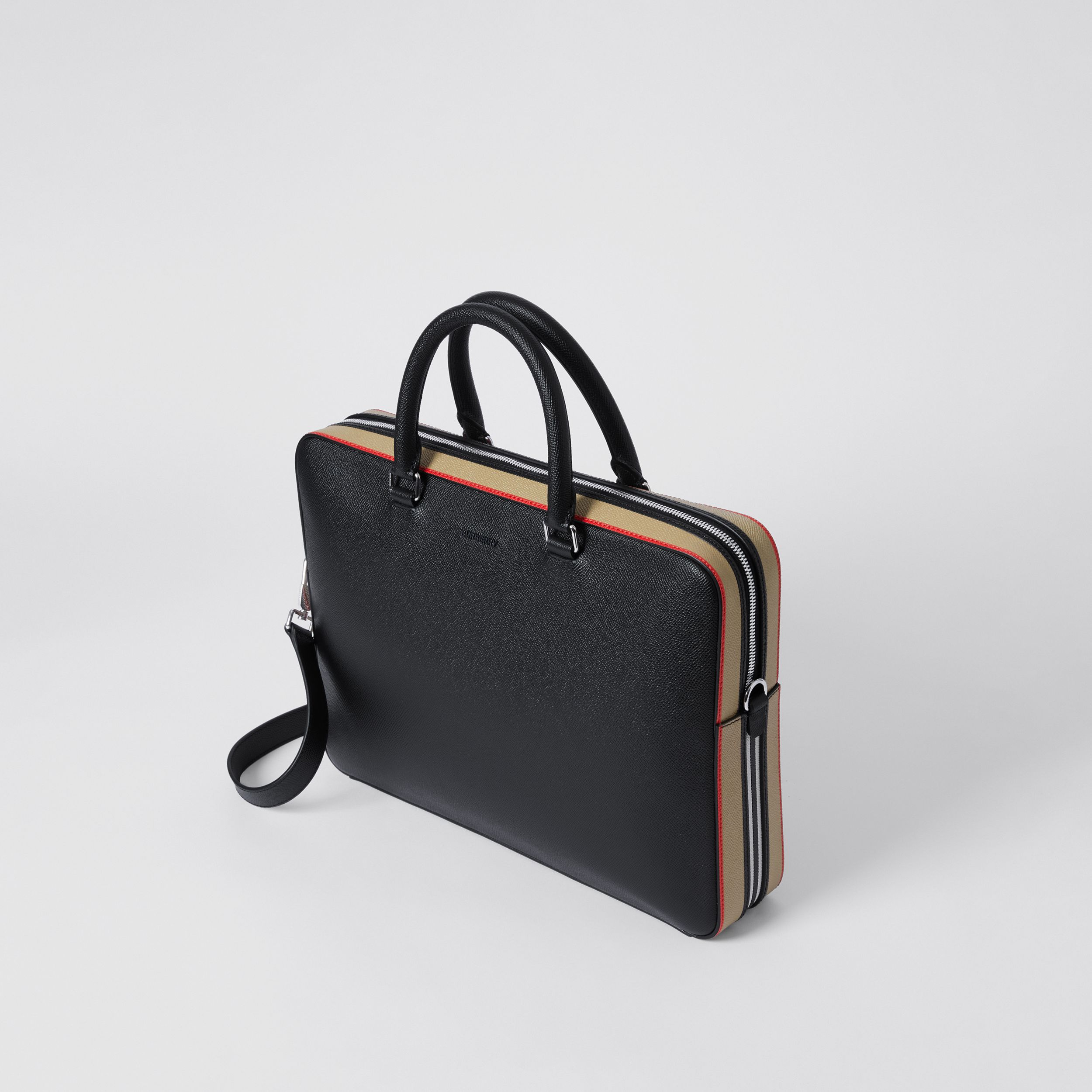 Icon Stripe Print Grainy Leather Briefcase in Black - Men | Burberry United States - 4