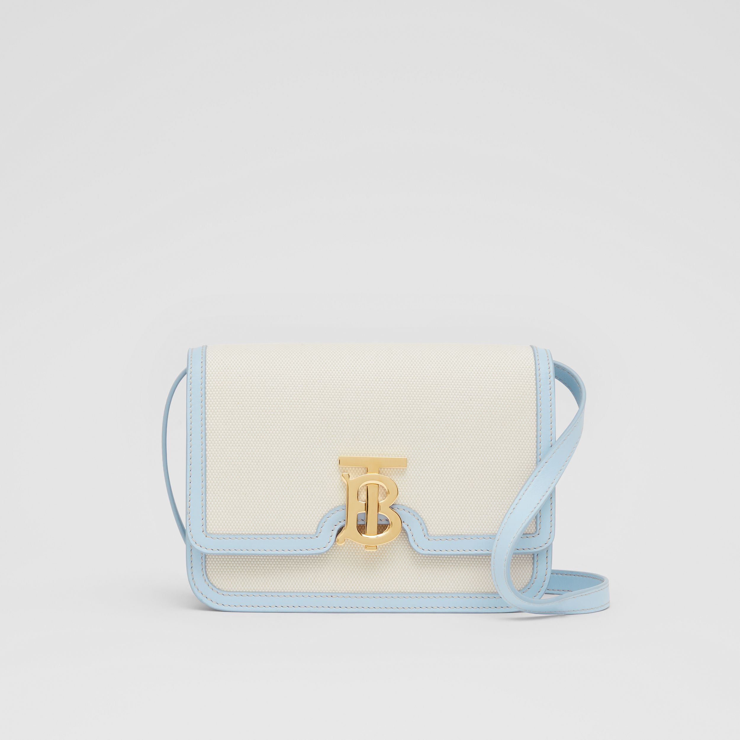 Small Two-tone Canvas and Leather TB Bag in Natural/pale Blue - Women | Burberry - 1