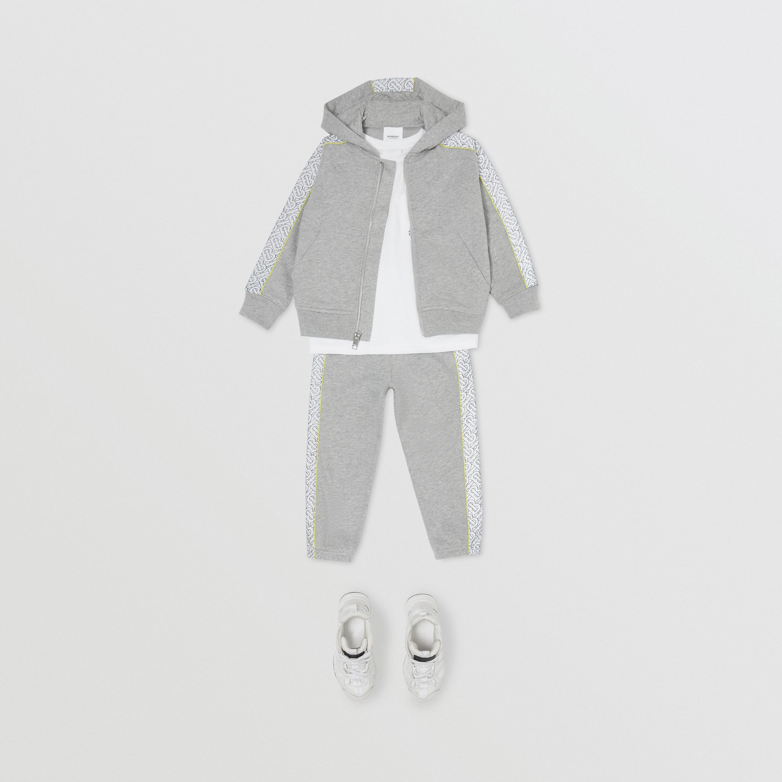 Monogram Print Panel Cotton Hooded Top in Grey Melange - Children | Burberry - 3