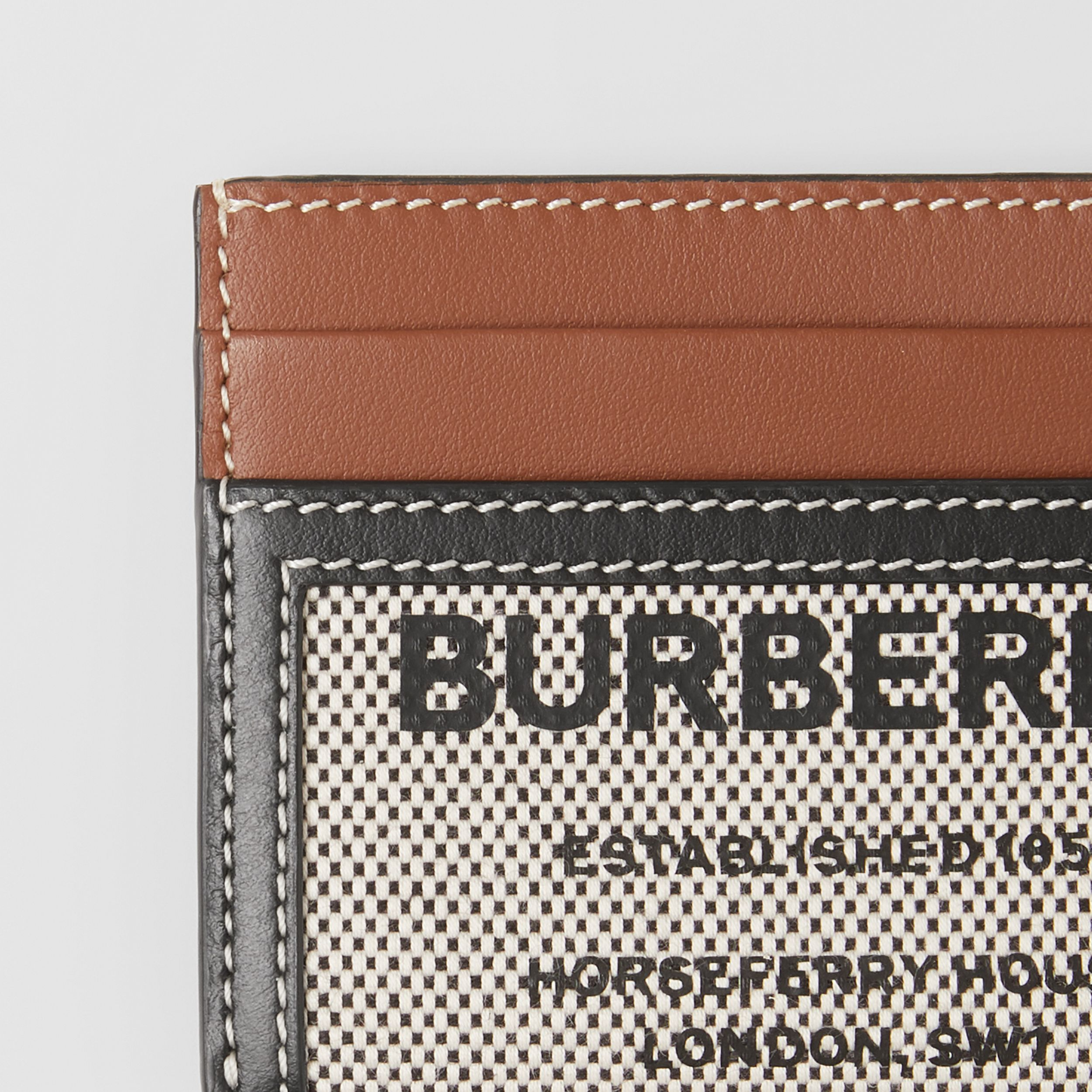 Horseferry Print Cotton Canvas and Leather Card Case in Black/tan - Women | Burberry - 2