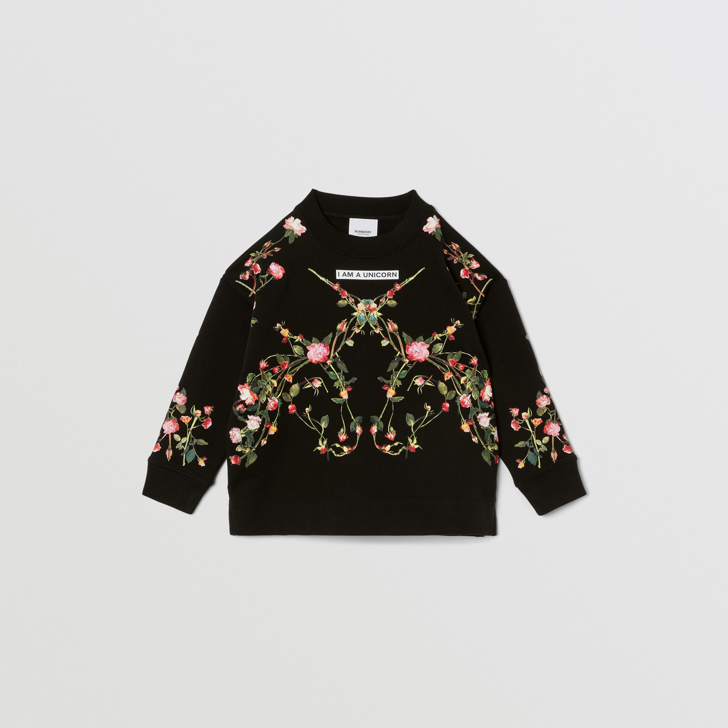 Montage Print Cotton Sweatshirt in Black | Burberry - 1
