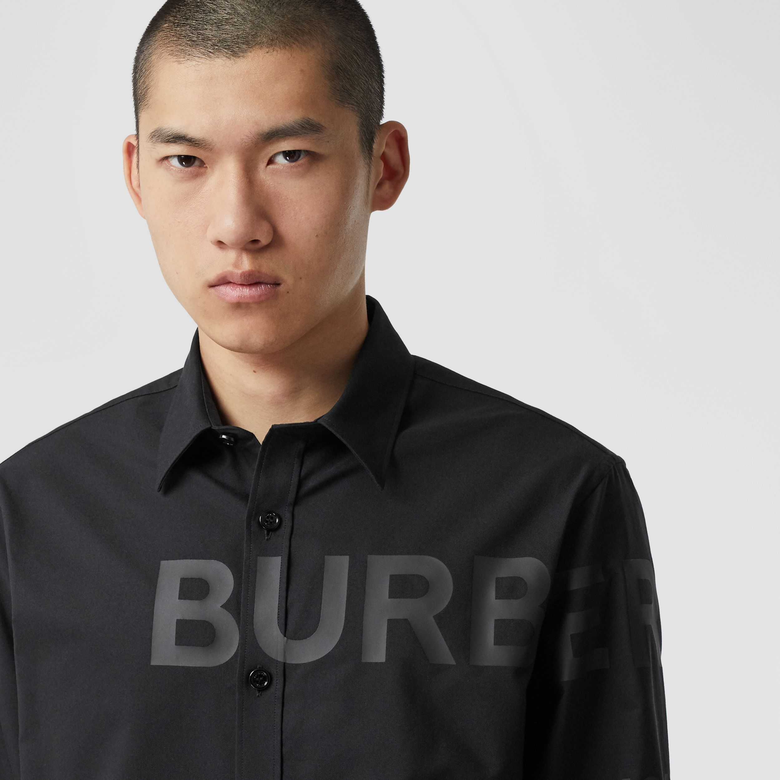 Horseferry Print Cotton Oxford Oversized Shirt in Black - Men | Burberry - 2