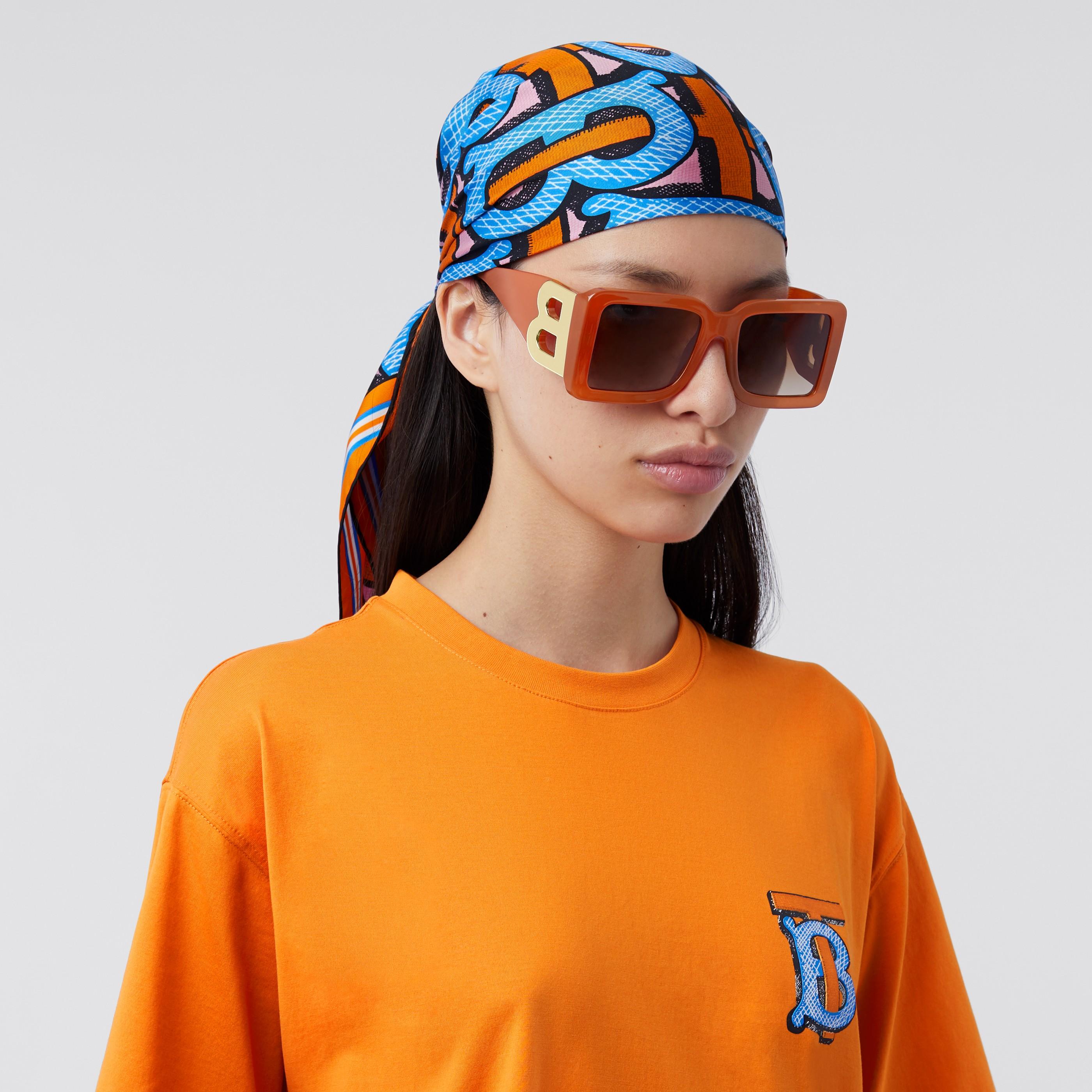 Occhiali da sole con montatura squadrata e lettera B (Arancione) | Burberry - 3