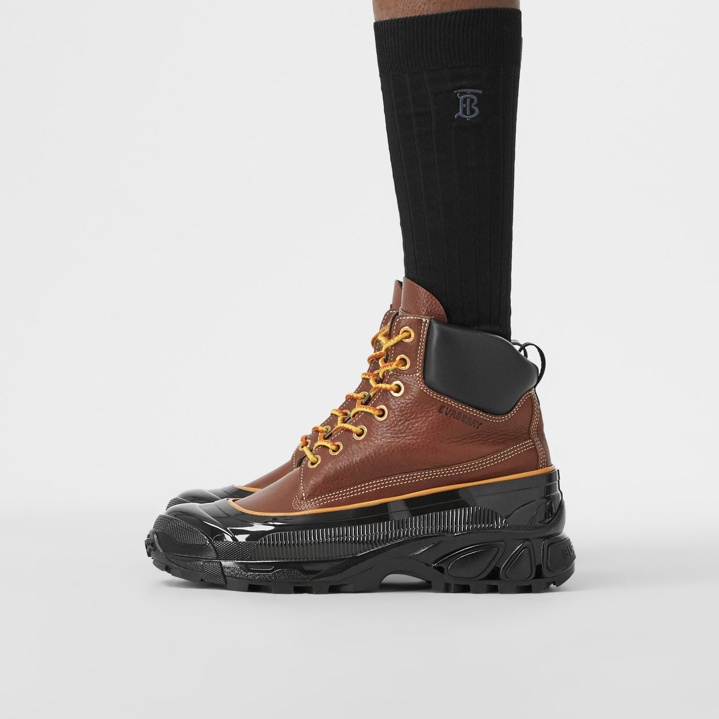 Contrast Sole Leather Boots in Tan - Men | Burberry - 3