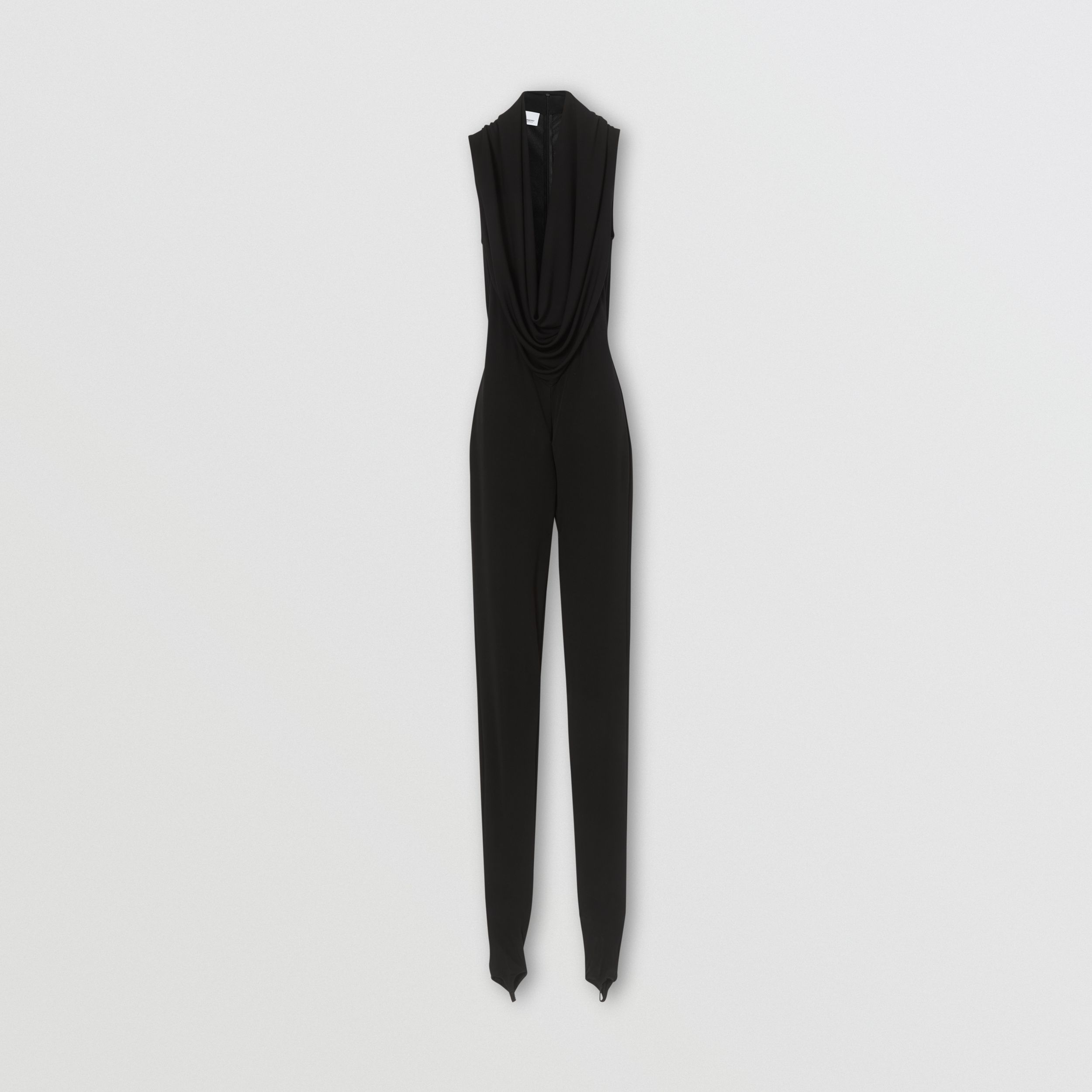 Shawl Neck Crepe Jersey Jumpsuit in Black - Women | Burberry - 4