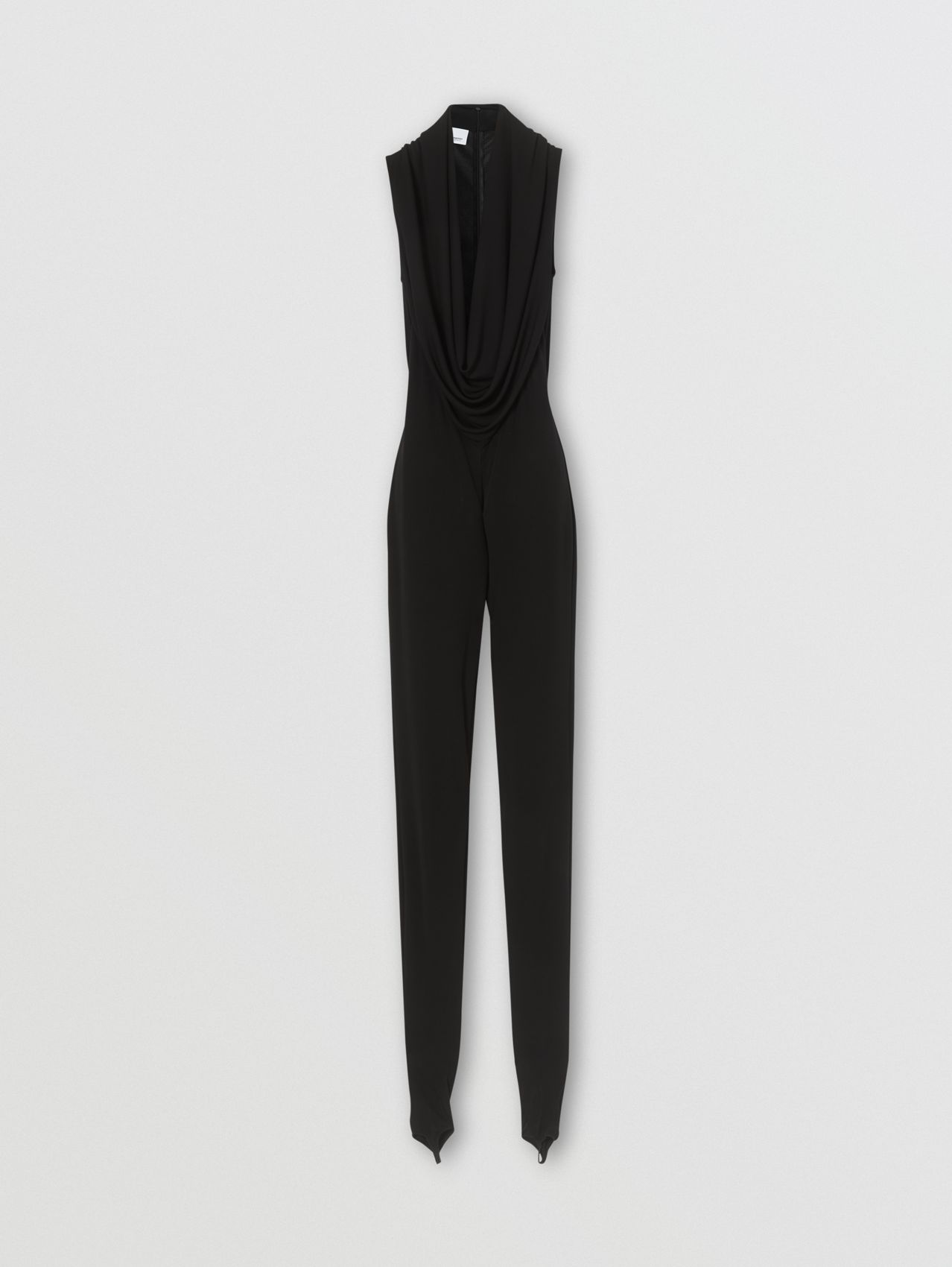 Shawl Neck Crepe Jersey Jumpsuit in Black