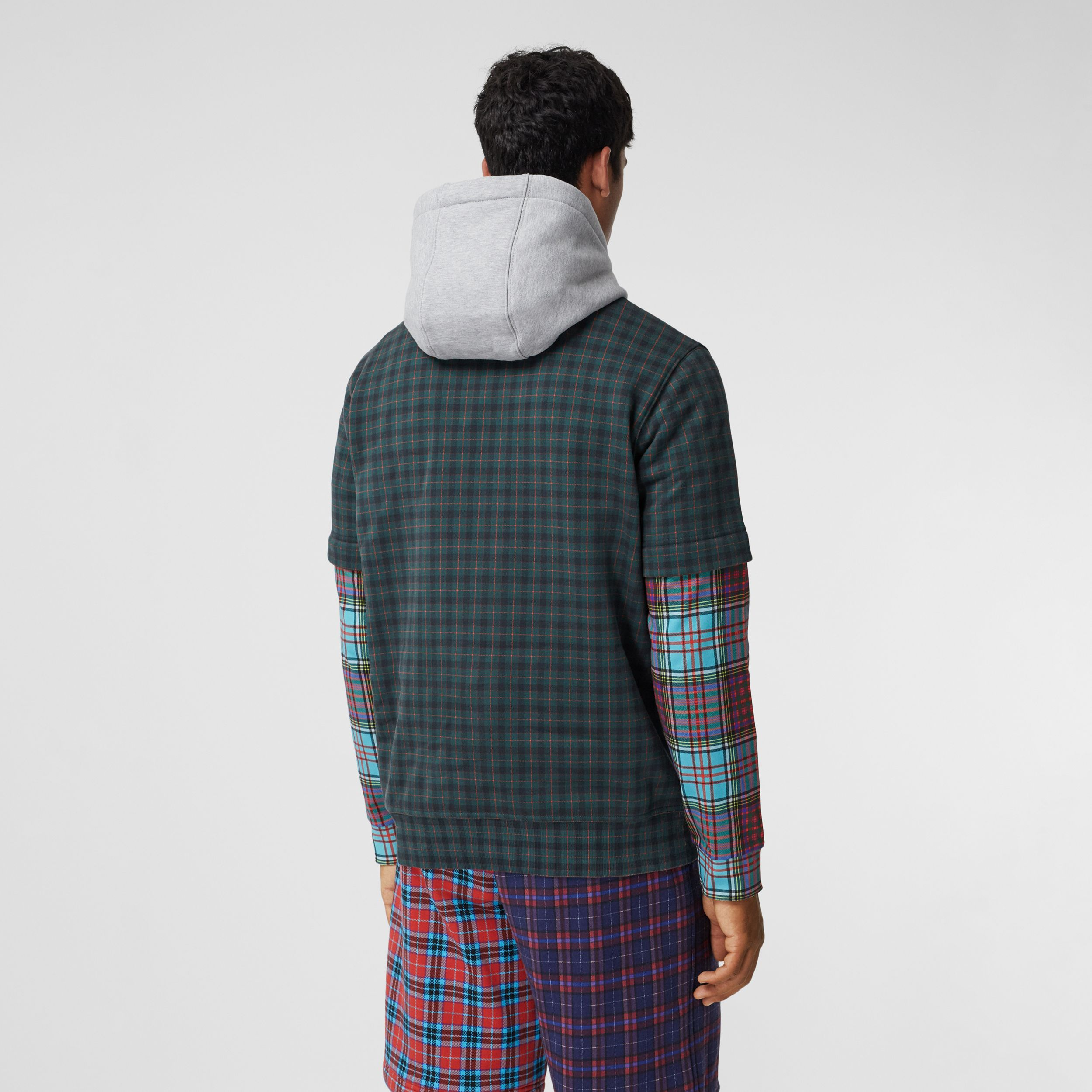Patchwork Check Cotton Blend Hoodie - Men | Burberry - 3