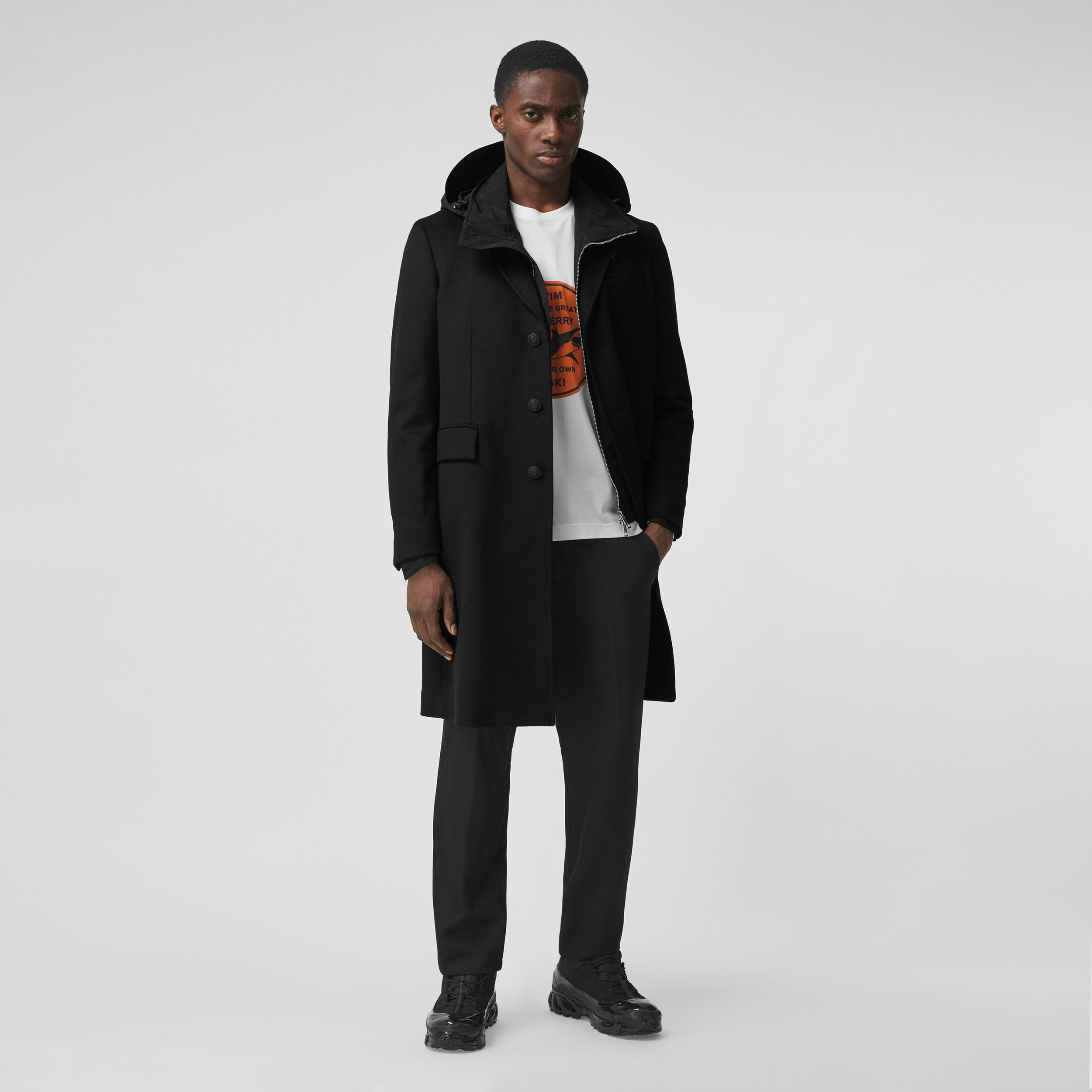 Button Detail Wool Cashmere Tailored Coat in Black - Men | Burberry - 1