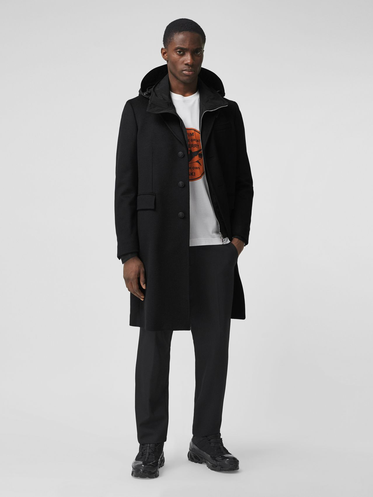 Button Detail Wool Cashmere Tailored Coat in Black
