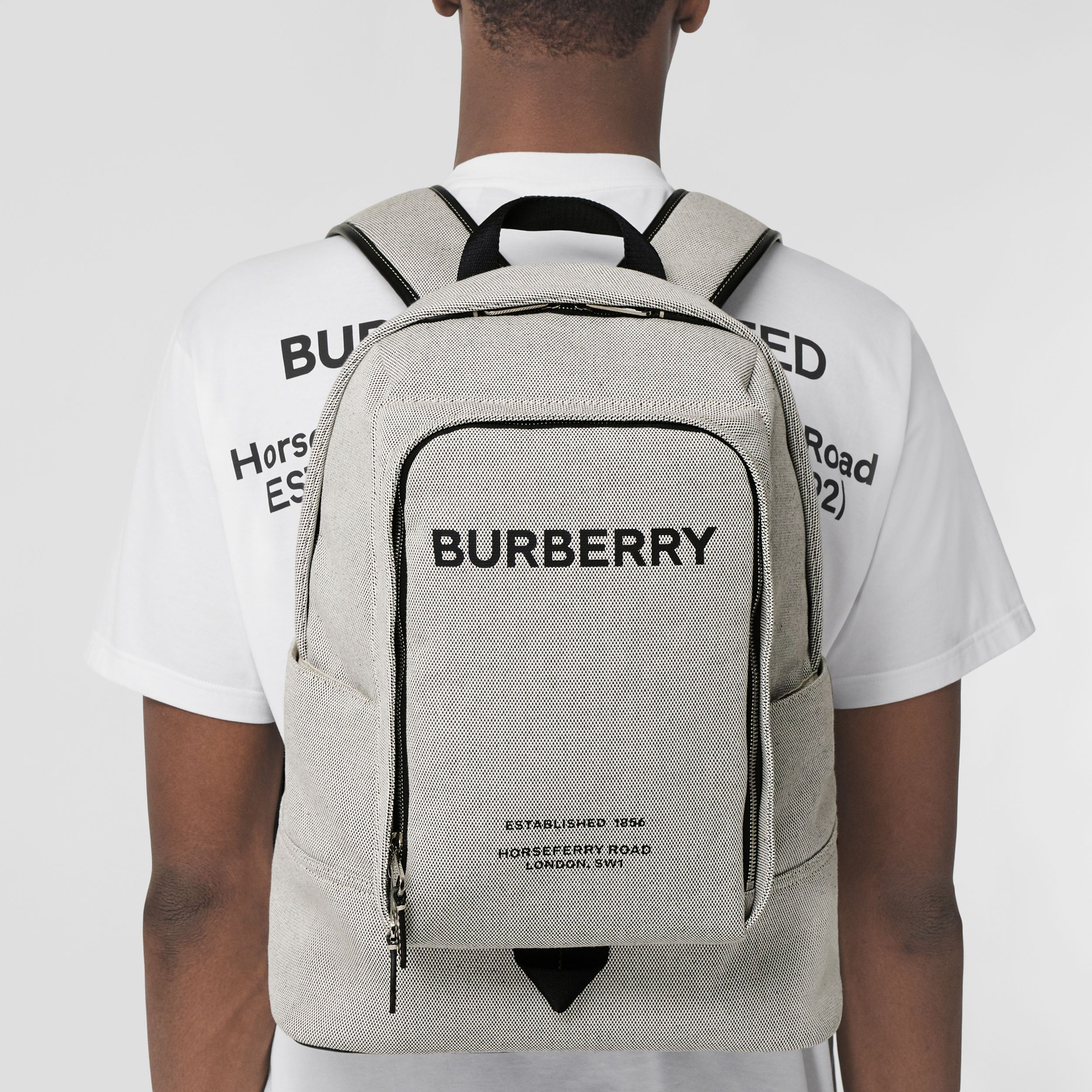Large Logo Print Cotton Canvas Backpack in Black - Men | Burberry - 3