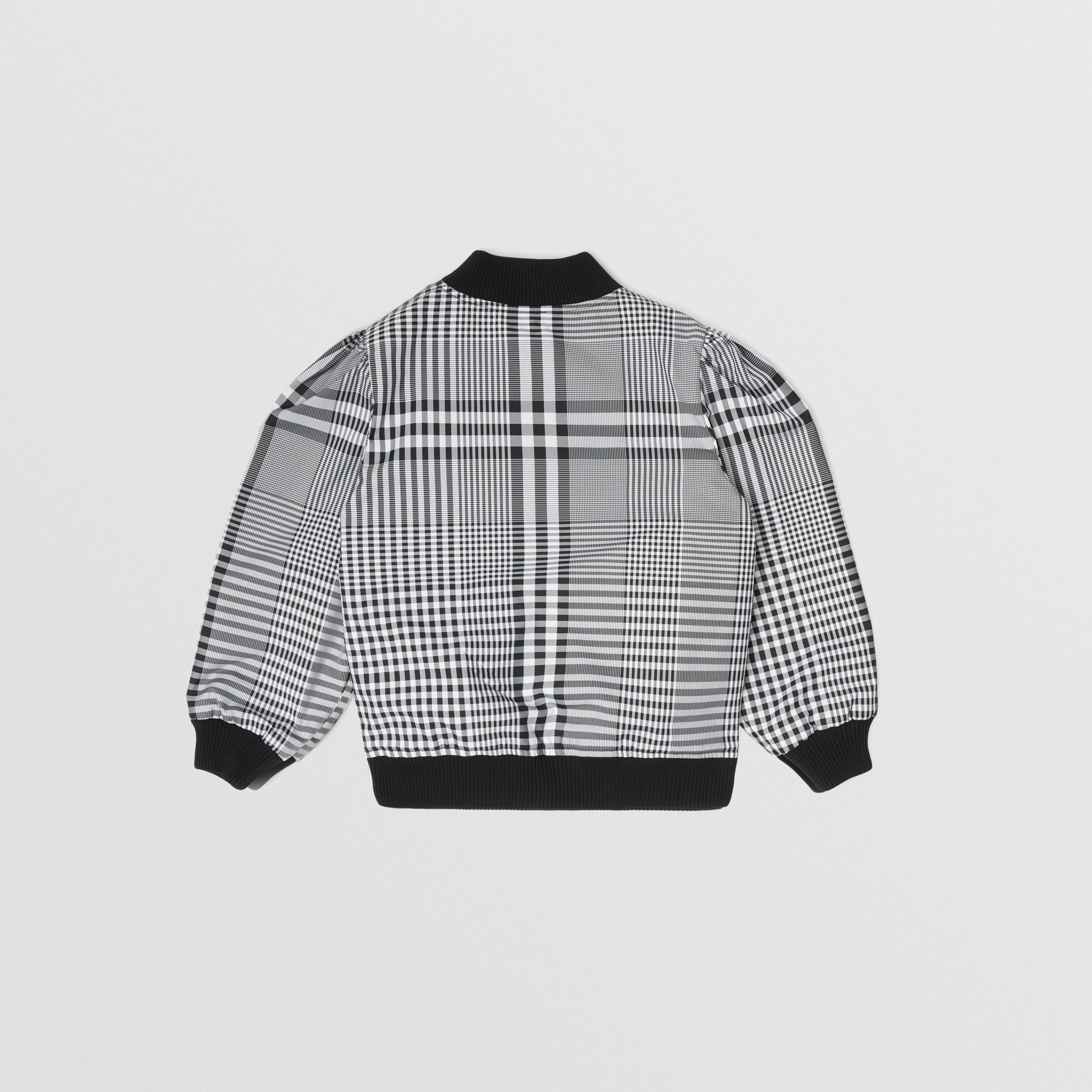 Logo Appliqué Reversible Check Bomber Jacket in Black | Burberry - 4