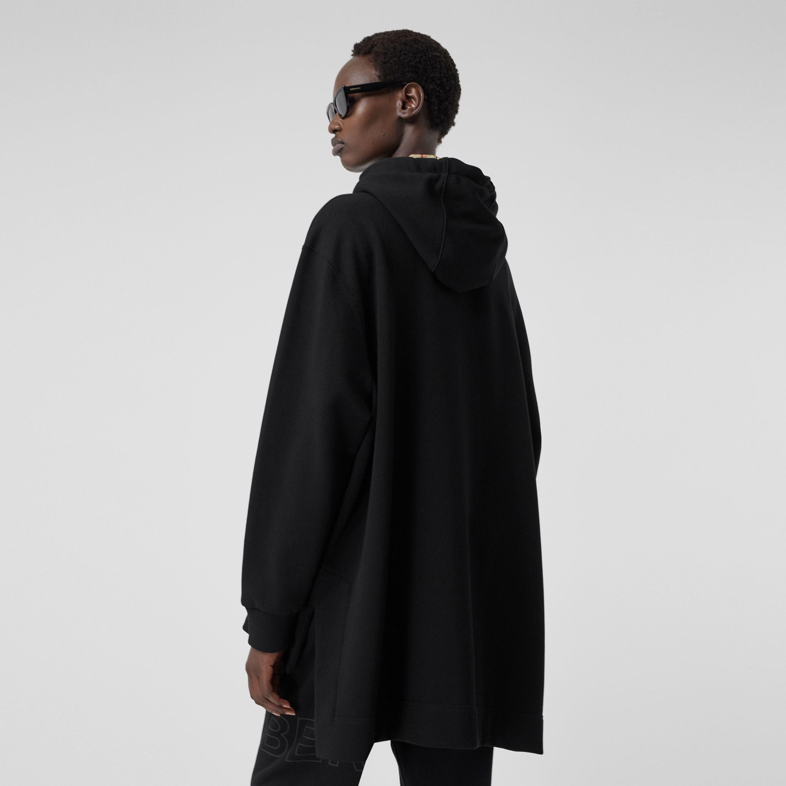 Stepped Hem Organic Cotton Oversized Hoodie in Black - Women | Burberry - 3