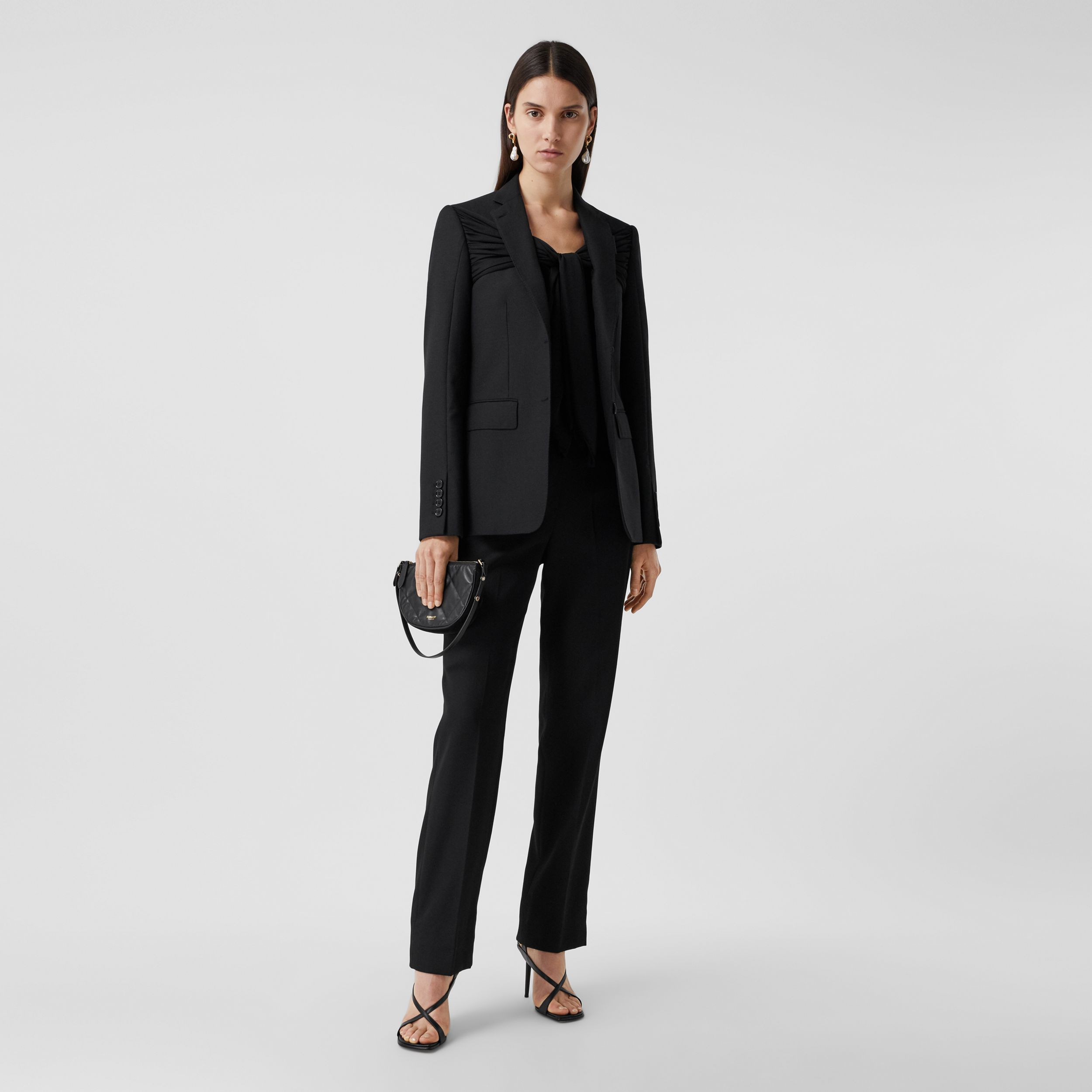Jersey Sash Detail Wool Tailored Trousers in Black - Women | Burberry - 1