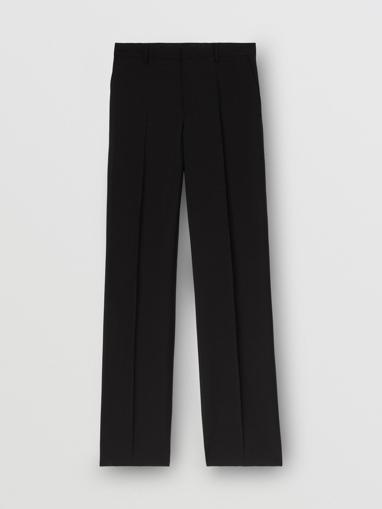 Mohair Wool Wide-leg Tailored Trousers in Black