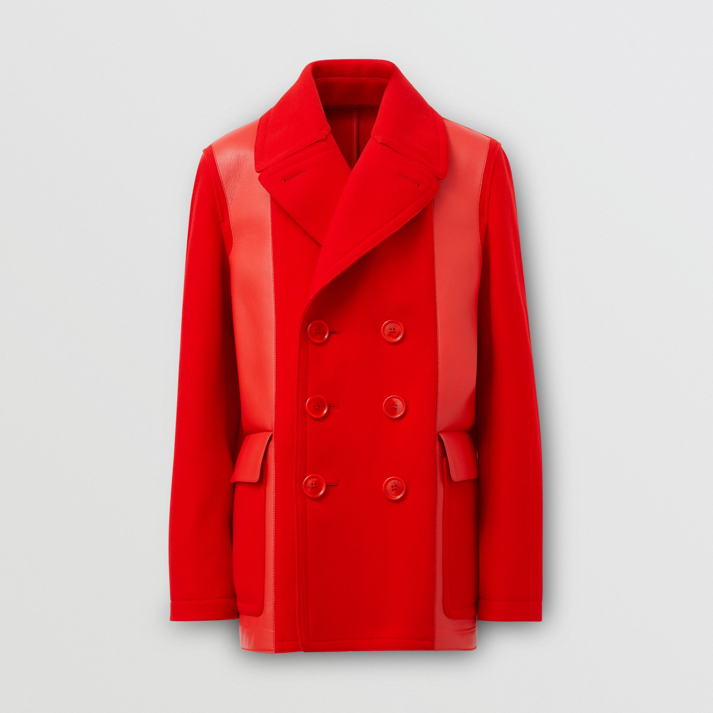 Lambskin Panel Technical Wool Pea Coat in Bright Red - Men | Burberry - 4