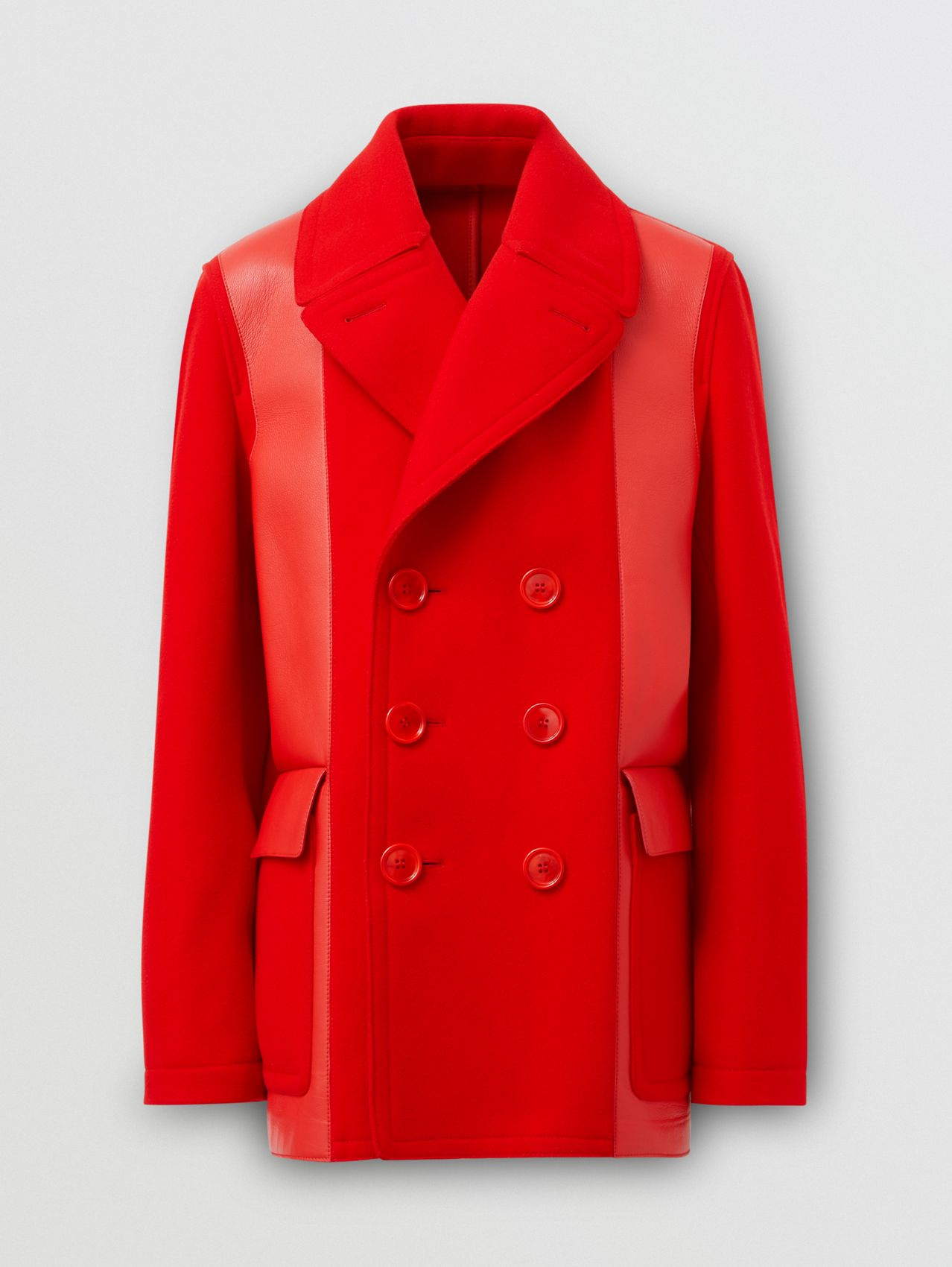 Lambskin Panel Technical Wool Pea Coat in Bright Red