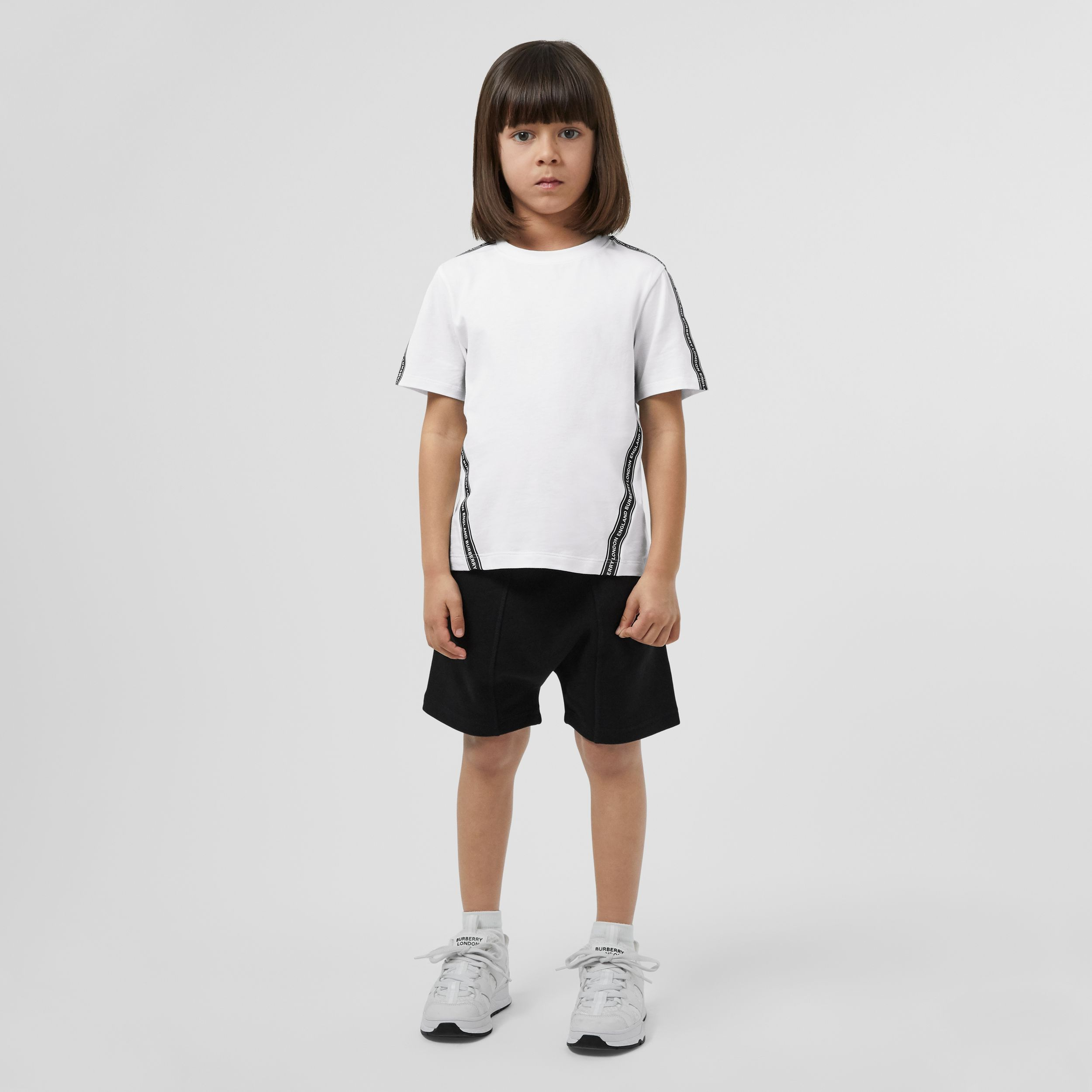 Logo Tape Cotton T-shirt in White | Burberry - 3