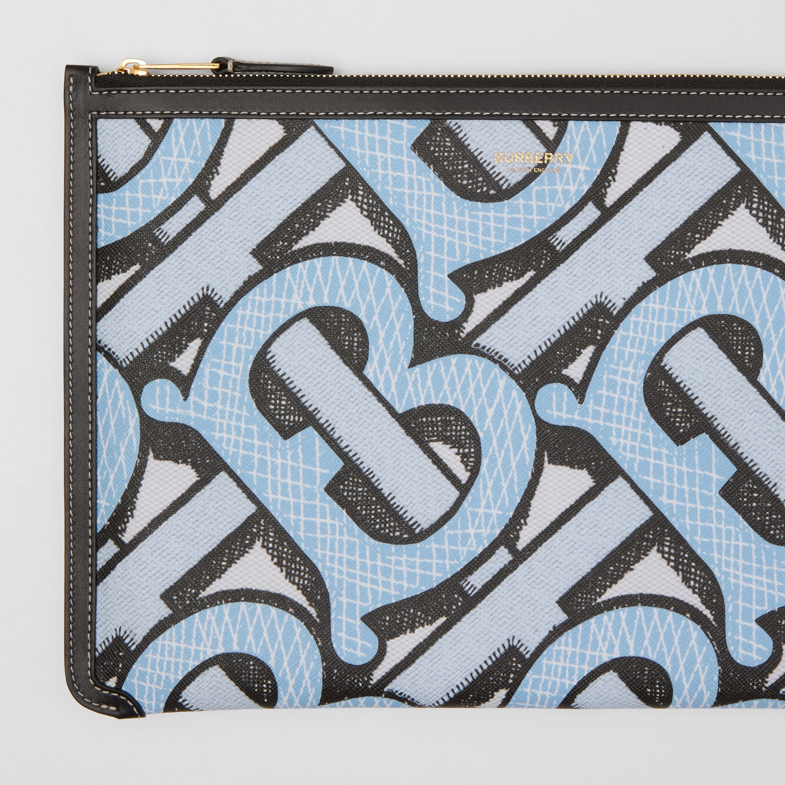 Monogram Print E-canvas and Leather Pouch in Pale Azure - Women | Burberry - 2