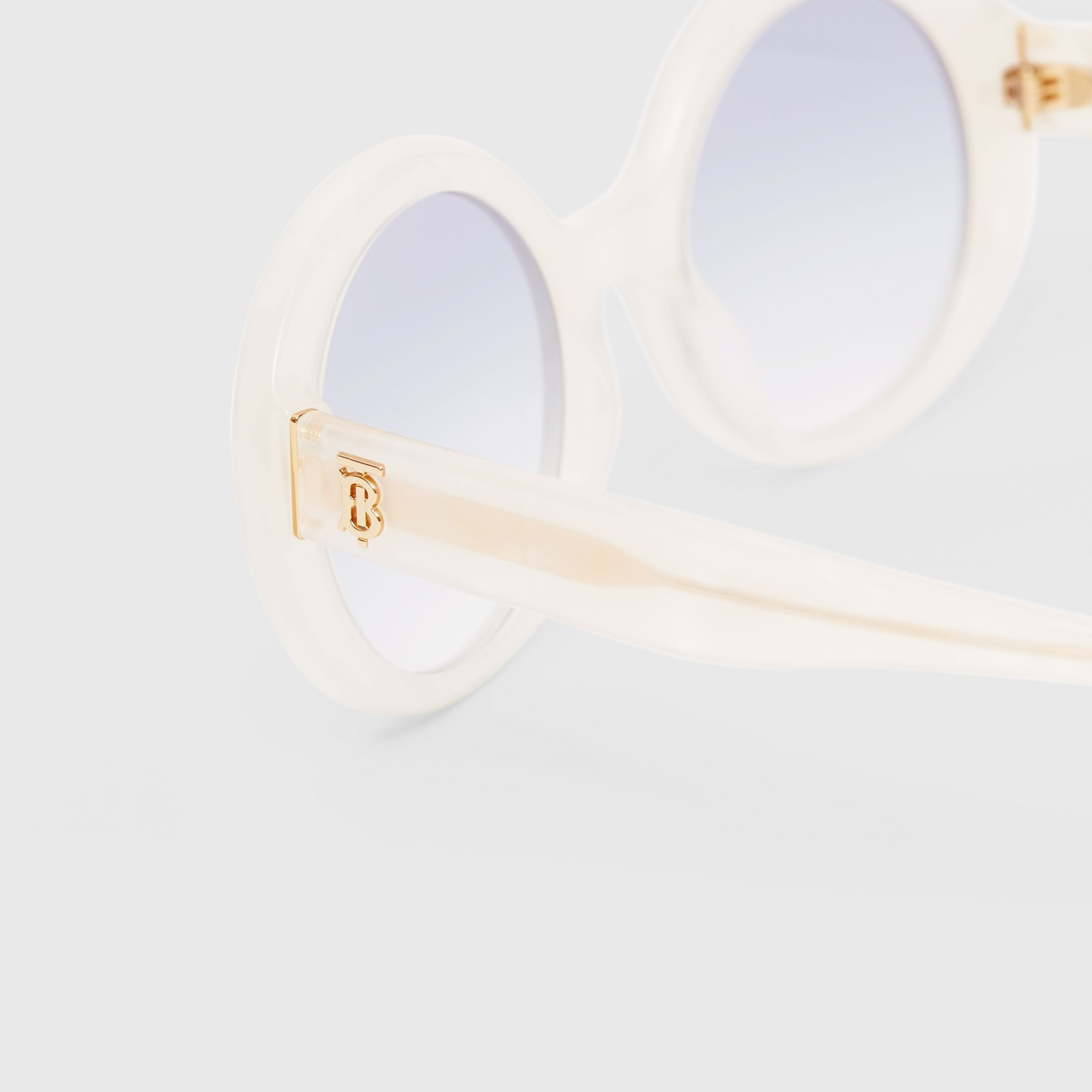 Oversized Round Frame Sunglasses in Pearl - Women | Burberry - 2