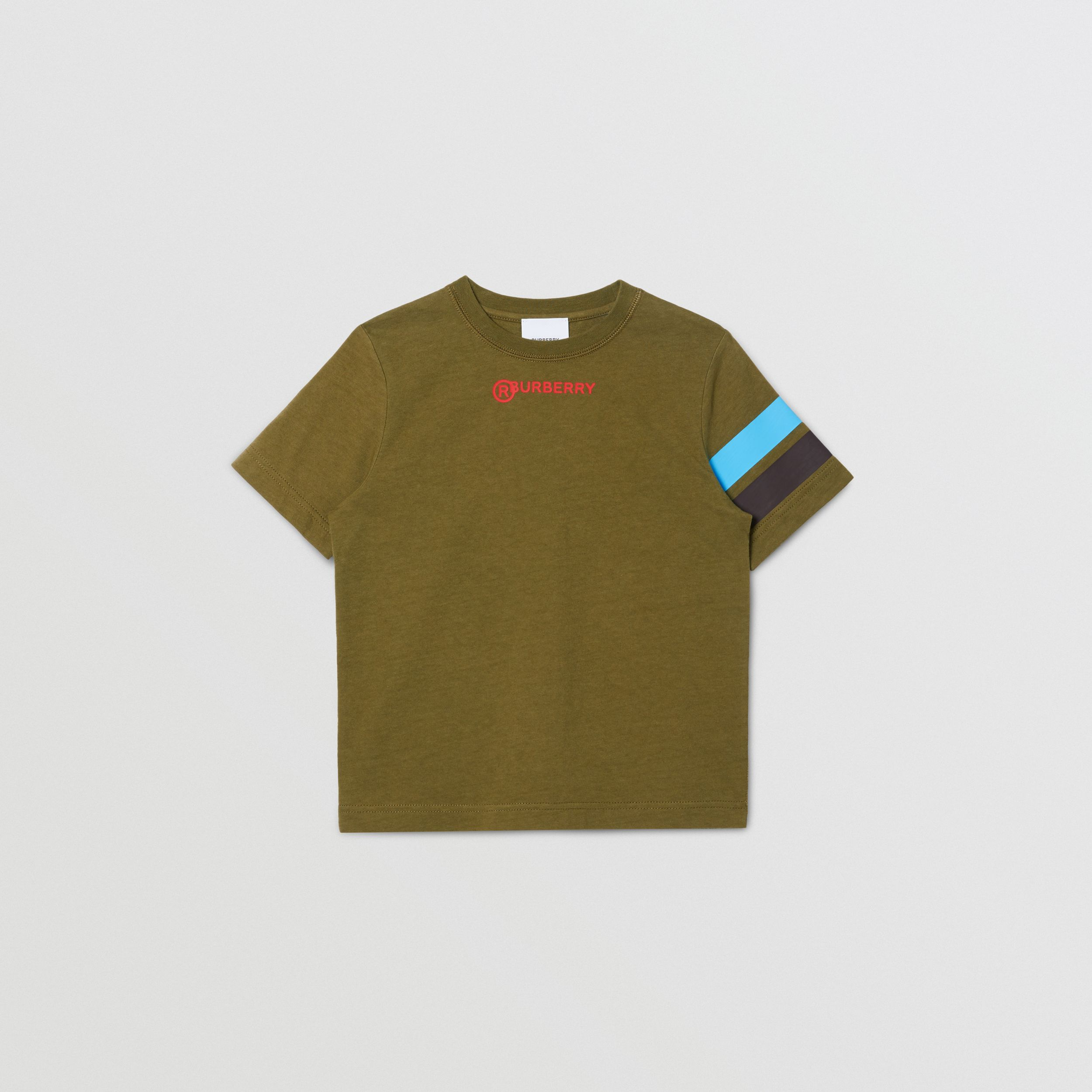Logo and Stripe Print Cotton T-shirt in Khaki Green Melange | Burberry - 1