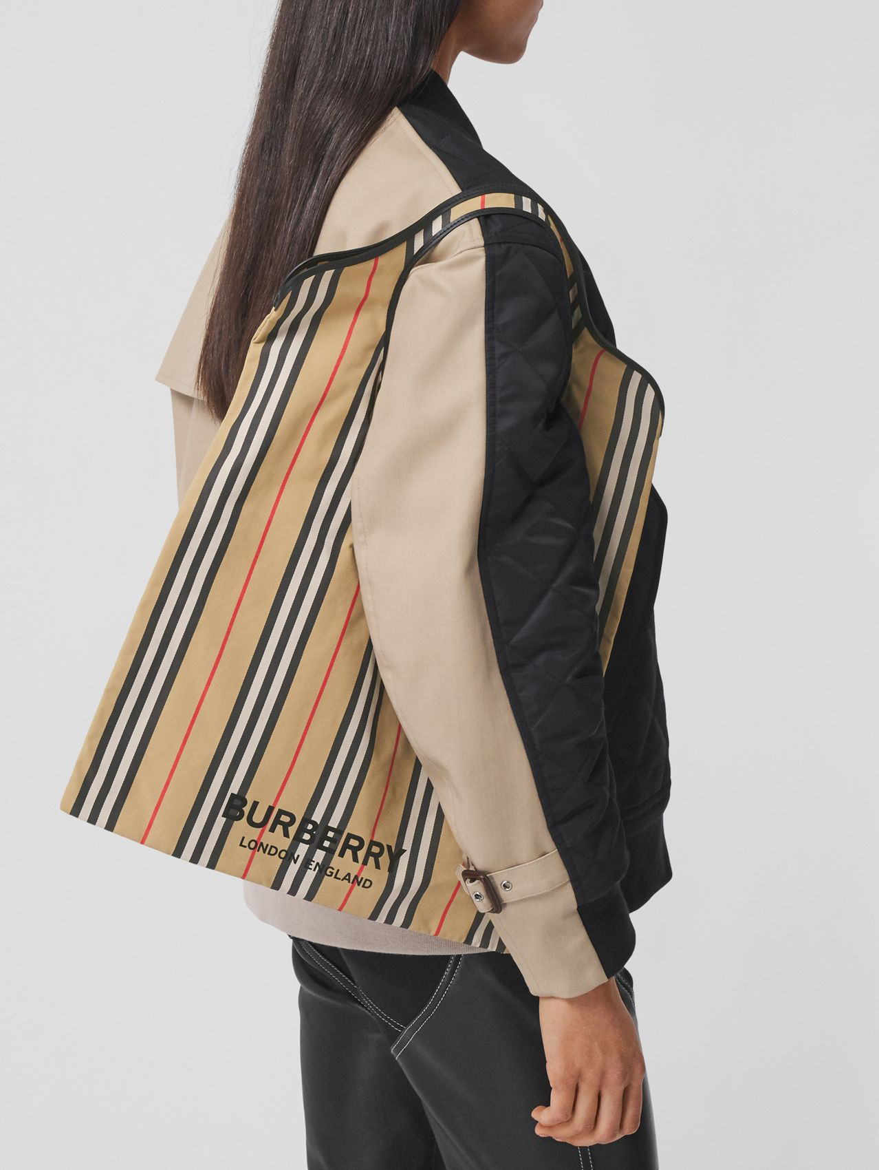 Icon Stripe ECONYL® Packaway Pocket Tote in Archive Beige
