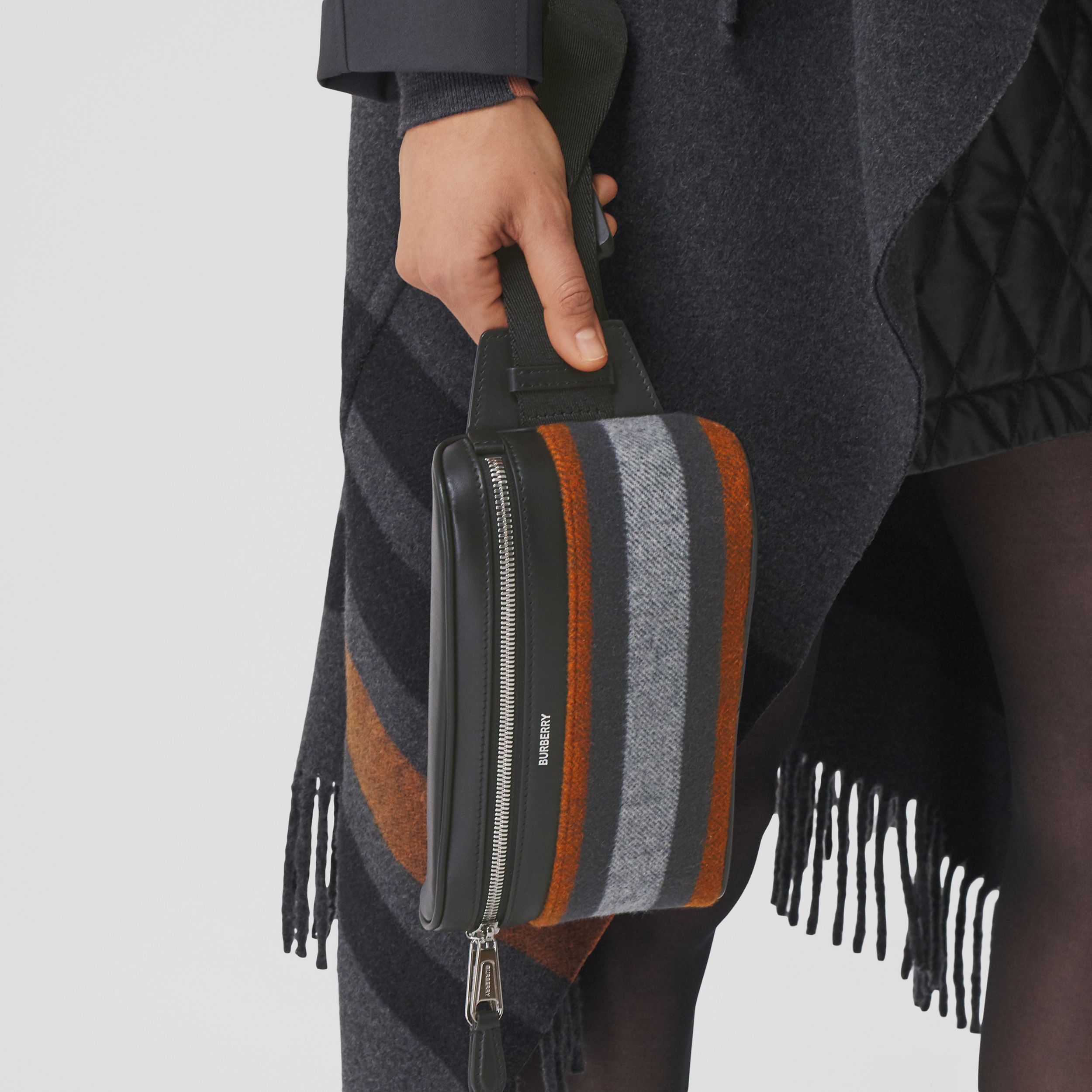 Small Striped Wool Cube Bum Bag – Online Exclusive in Mid Grey | Burberry - 2
