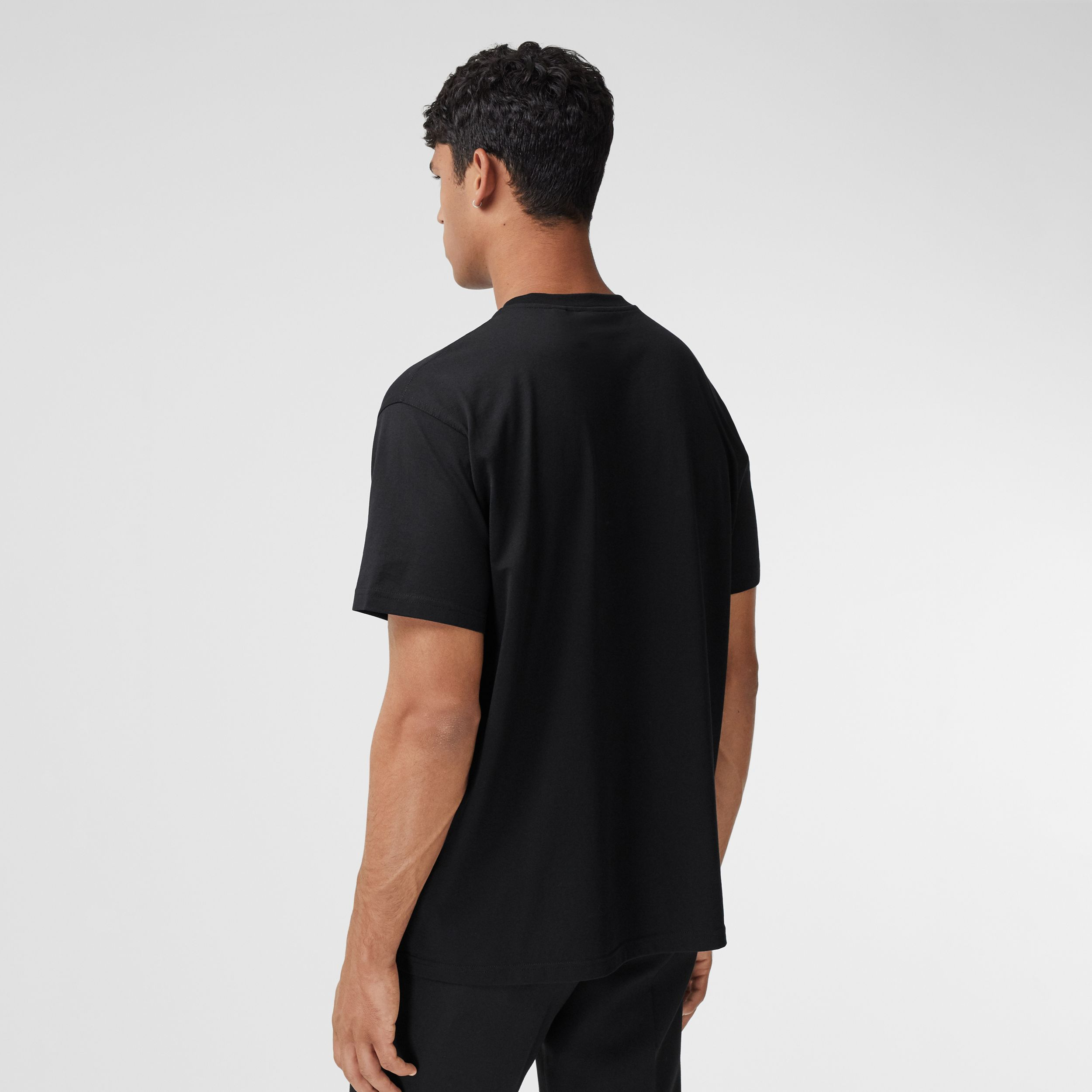 Logo Print Cotton T-shirt in Black - Men | Burberry - 3
