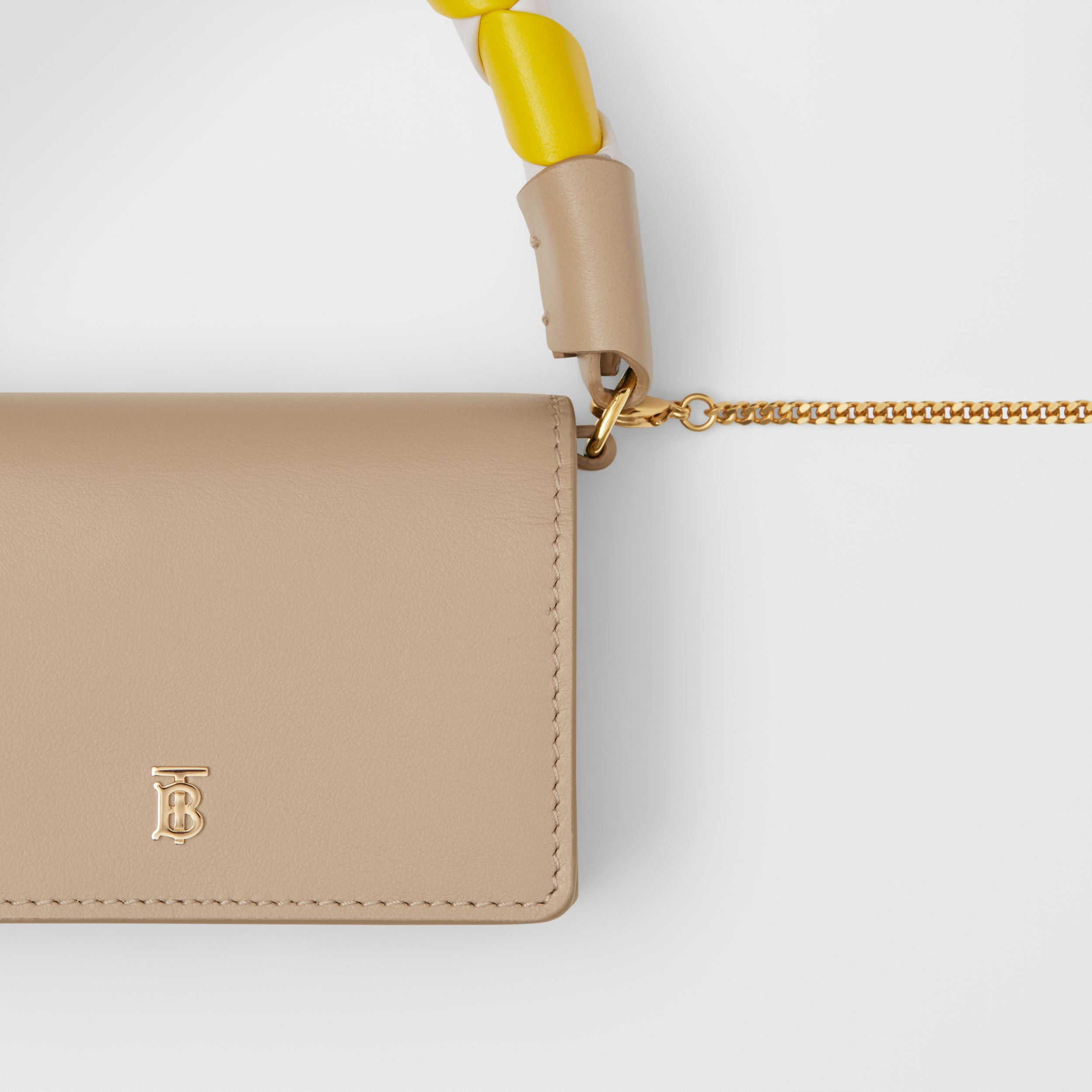 Leather Card Case with Detachable Handle and Strap in Soft Fawn/white/yellow | Burberry - 2