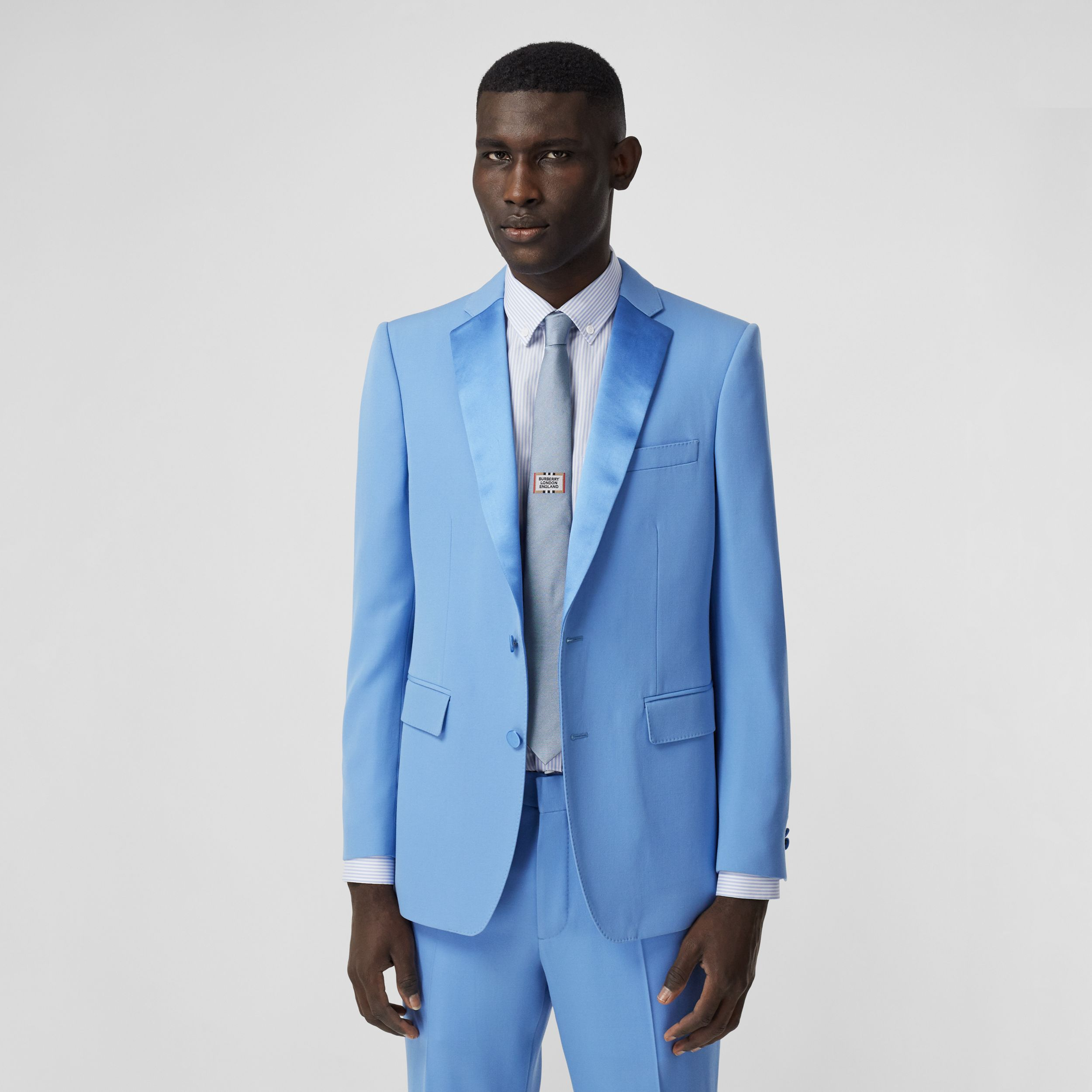 English Fit Grain De Poudre Wool Tuxedo Jacket in Vivid Cobalt - Men | Burberry - 1