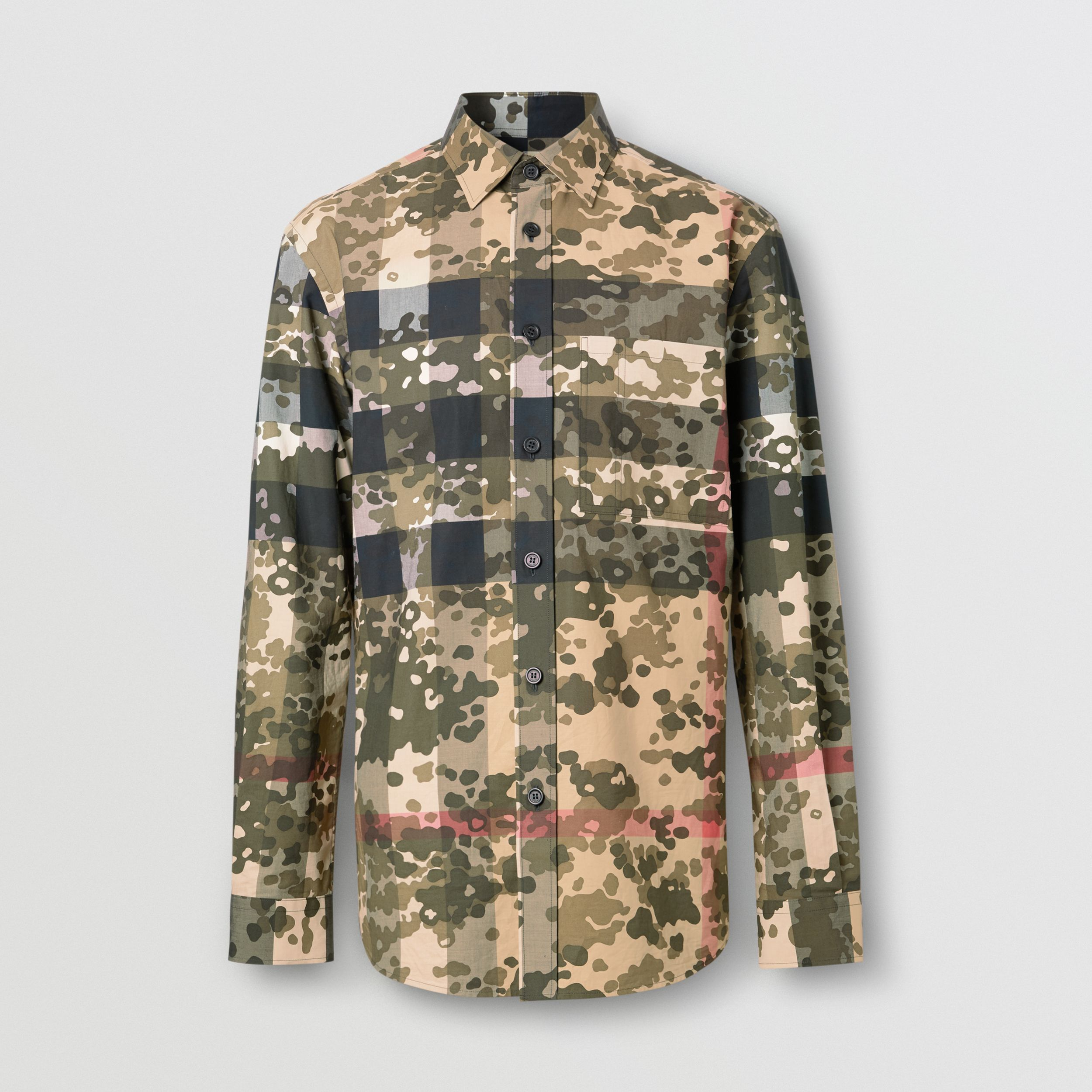 Camouflage Check Stretch Cotton Poplin Shirt in Archive Beige - Men | Burberry - 4