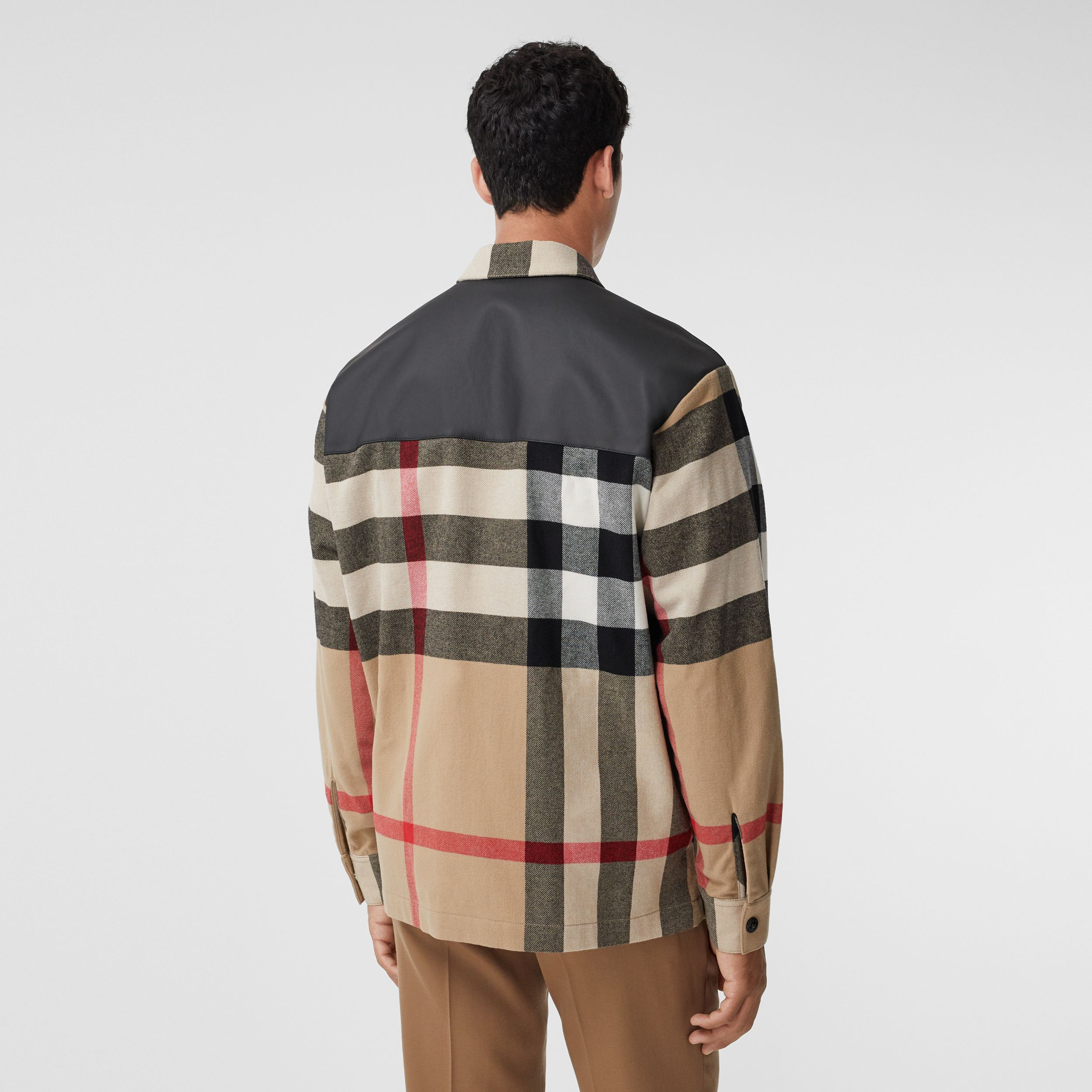 Contrast Panel Check Wool Cotton Shirt in Archive Beige - Men | Burberry - 3