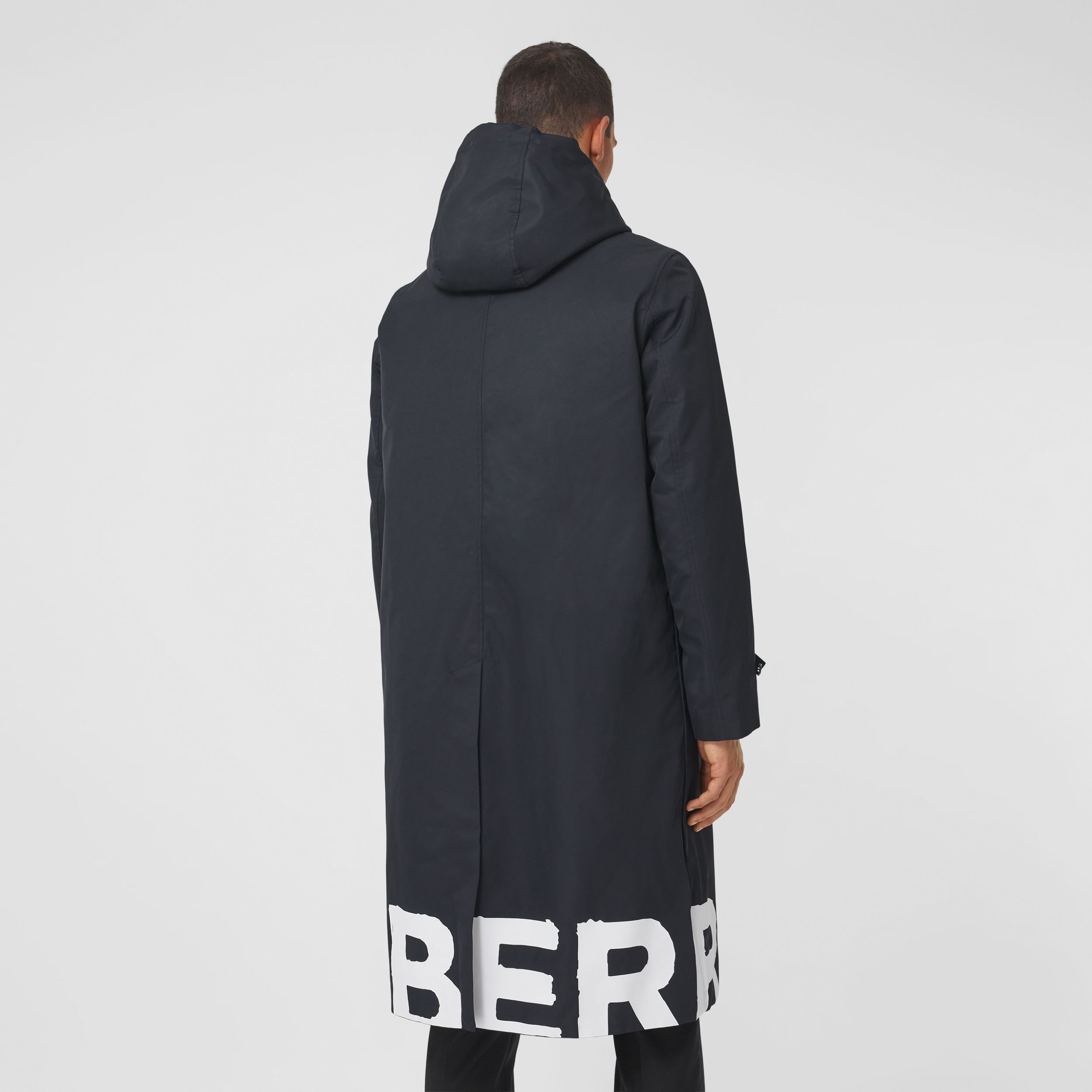 Logo Print Nylon Car Coat in Black - Men | Burberry - 3