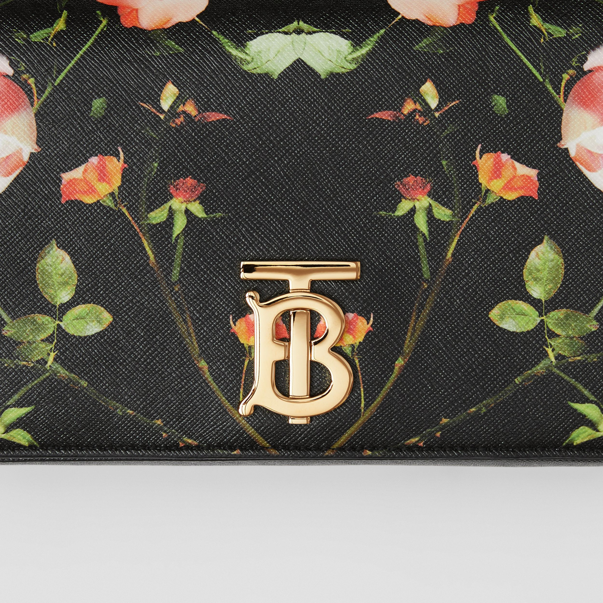 Small Rose Print E-canvas Lola Bag – Online Exclusive in Black - Women | Burberry - 2