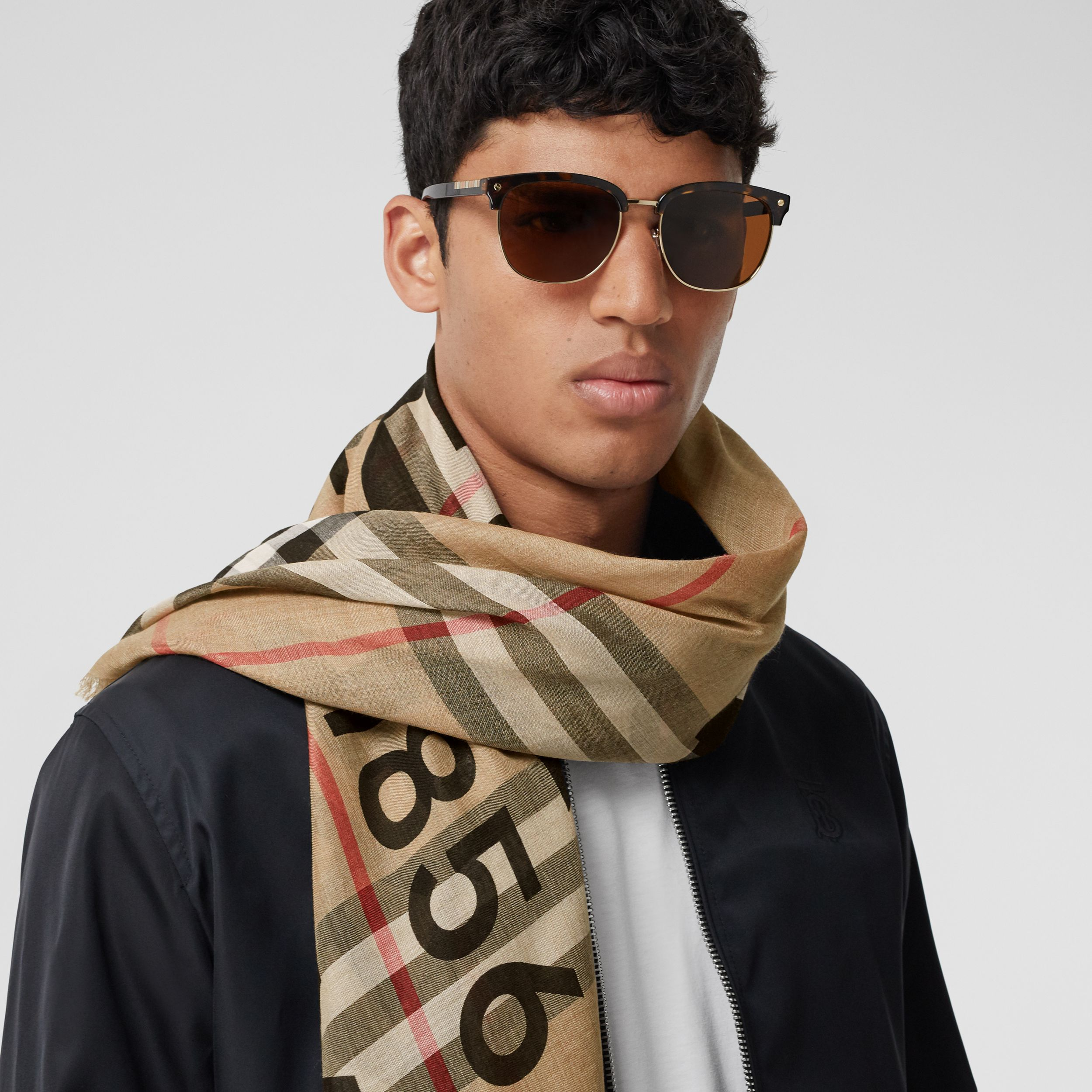 Horseferry Print Check Wool Silk Large Square Scarf in Archive Beige | Burberry United Kingdom - 4