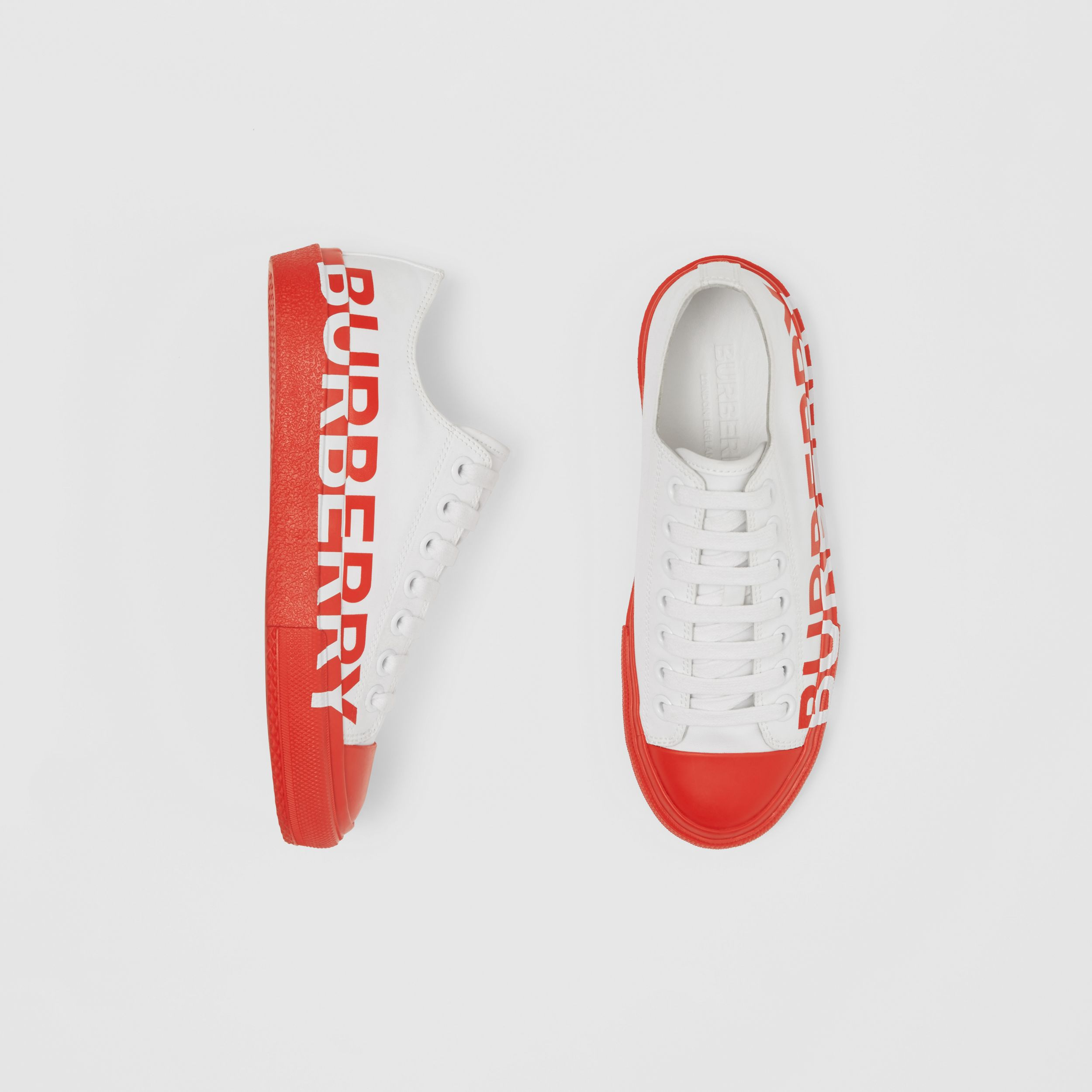 Logo Print Two-tone Cotton Gabardine Sneakers in Optic White/bright Red - Women | Burberry - 1