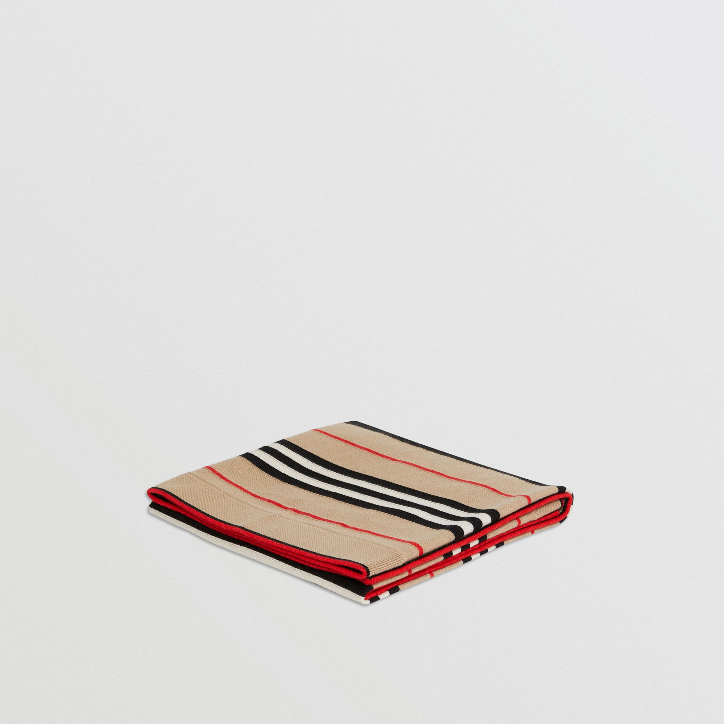 Icon Stripe Cashmere Merino Wool Baby Blanket in Archive Beige - Children | Burberry - 1