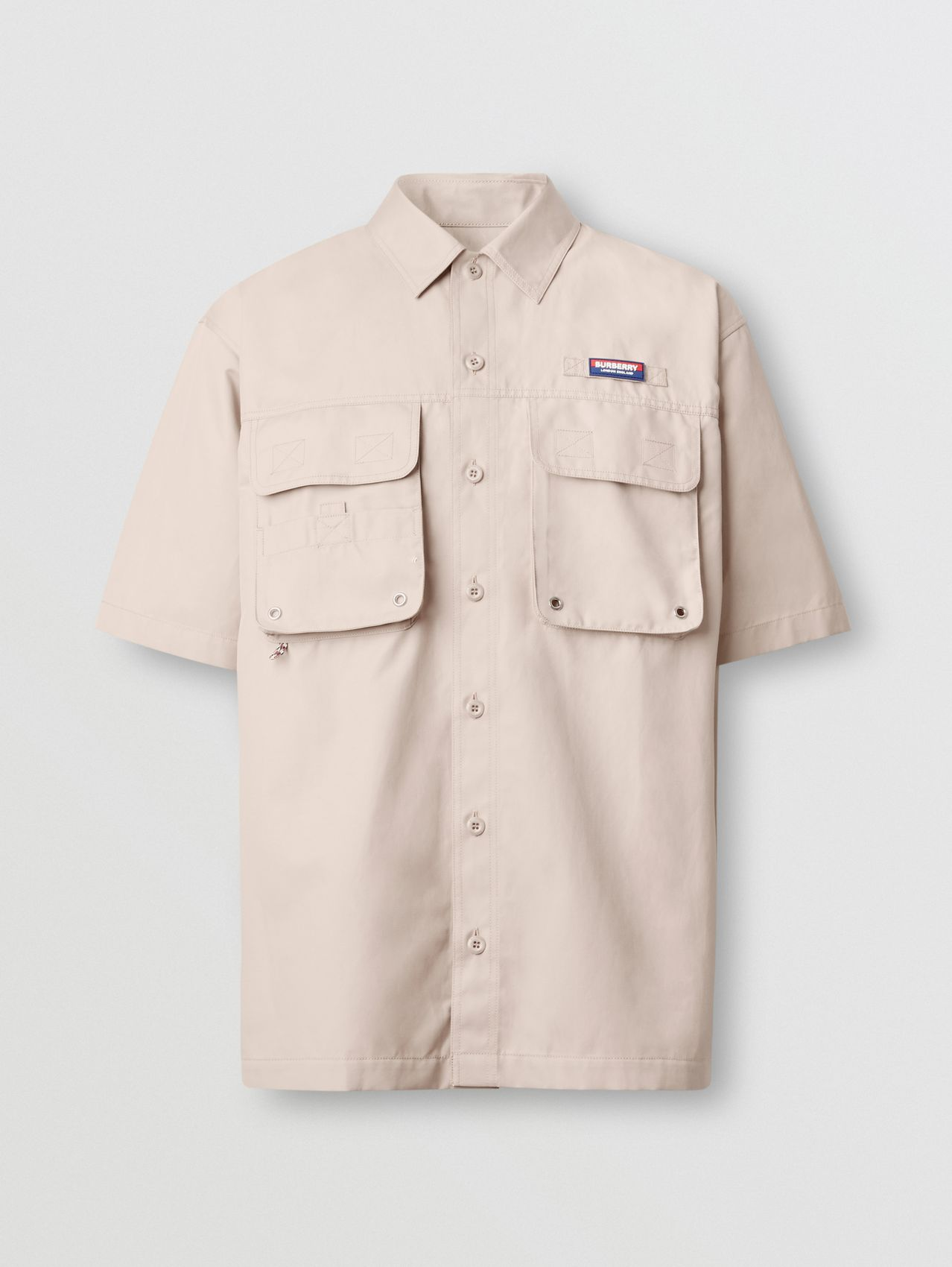 Short-sleeve Logo Appliqué Cotton Shirt in Soft Fawn